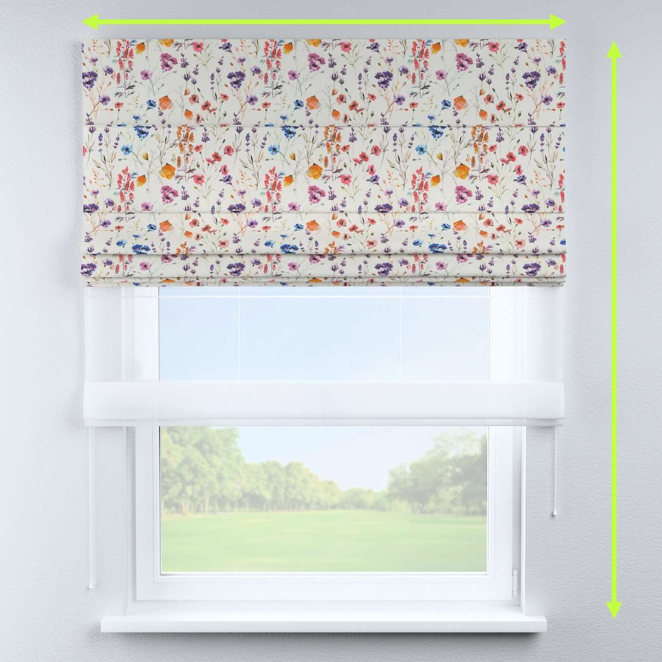 Voile and fabric roman blind (DUO II) in collection Flowers, fabric: 141-53