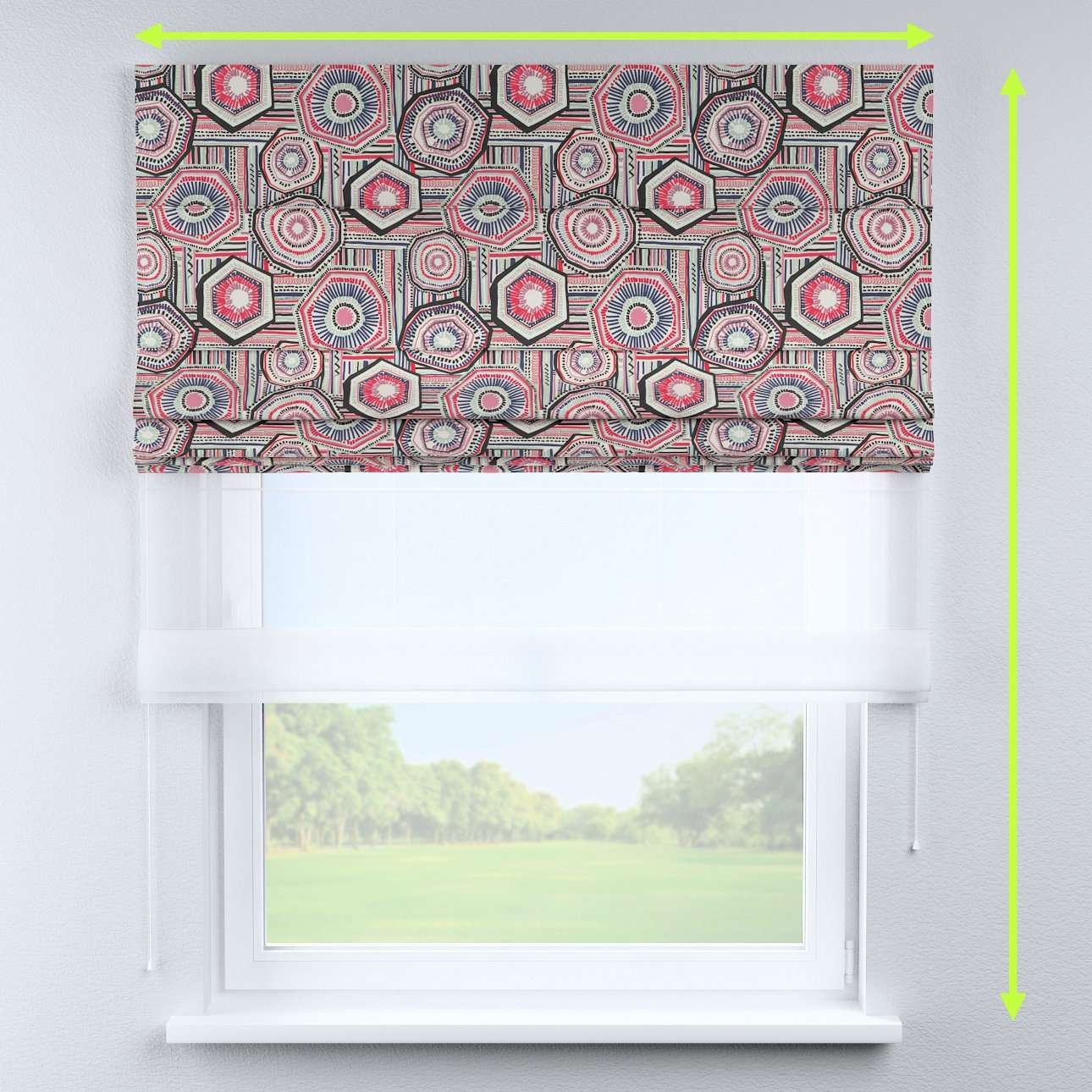 Voile and fabric roman blind (DUO II) in collection New Art, fabric: 141-54