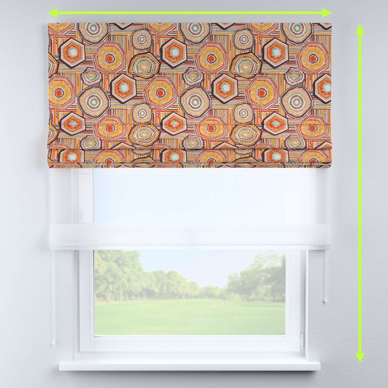 Voile and fabric roman blind (DUO II) in collection New Art, fabric: 141-55