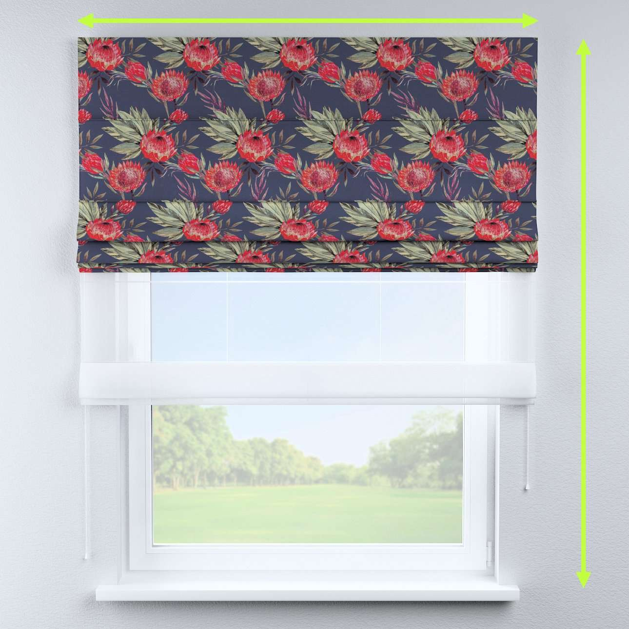 Voile and fabric roman blind (DUO II) in collection New Art, fabric: 141-57