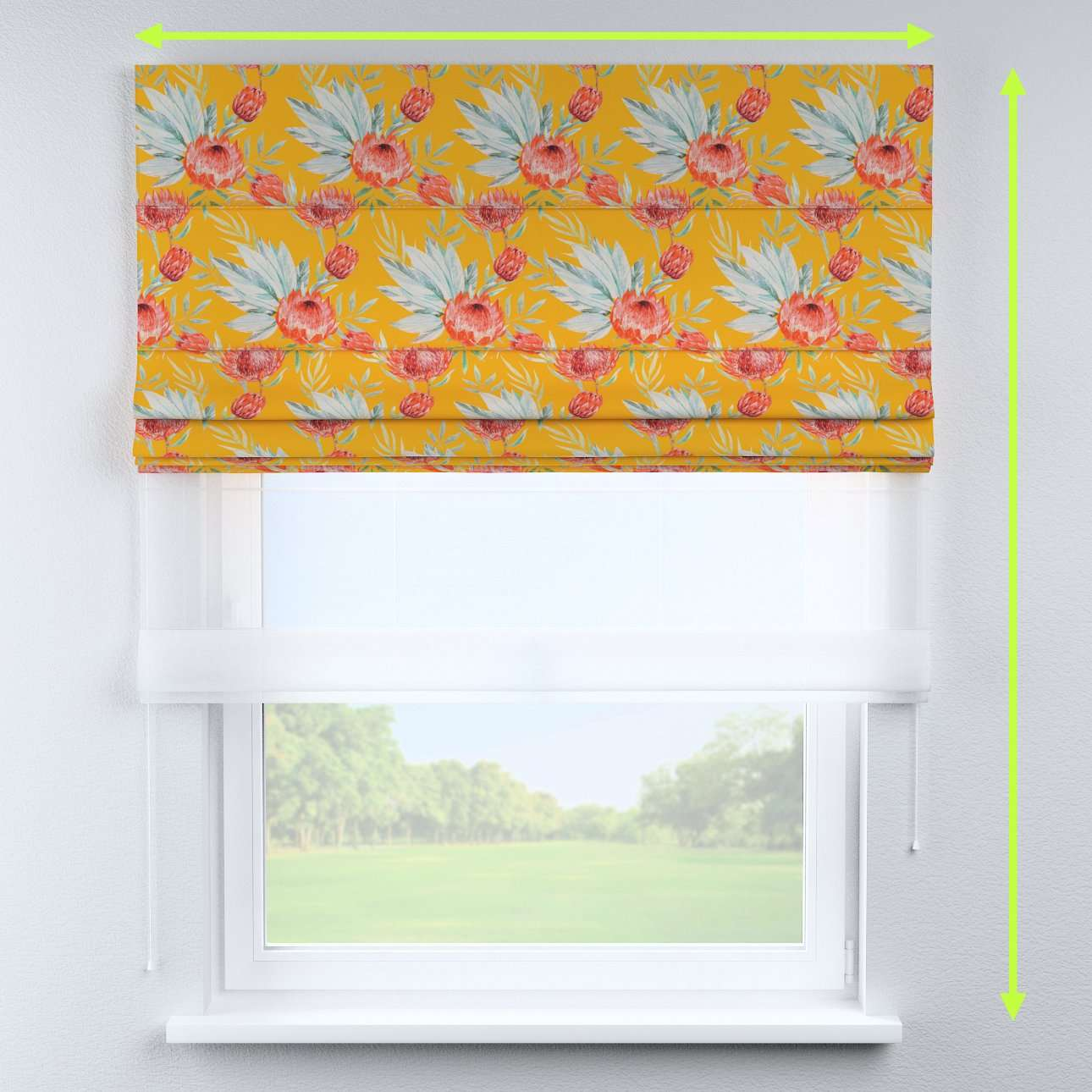 Voile and fabric roman blind (DUO II) in collection New Art, fabric: 141-58