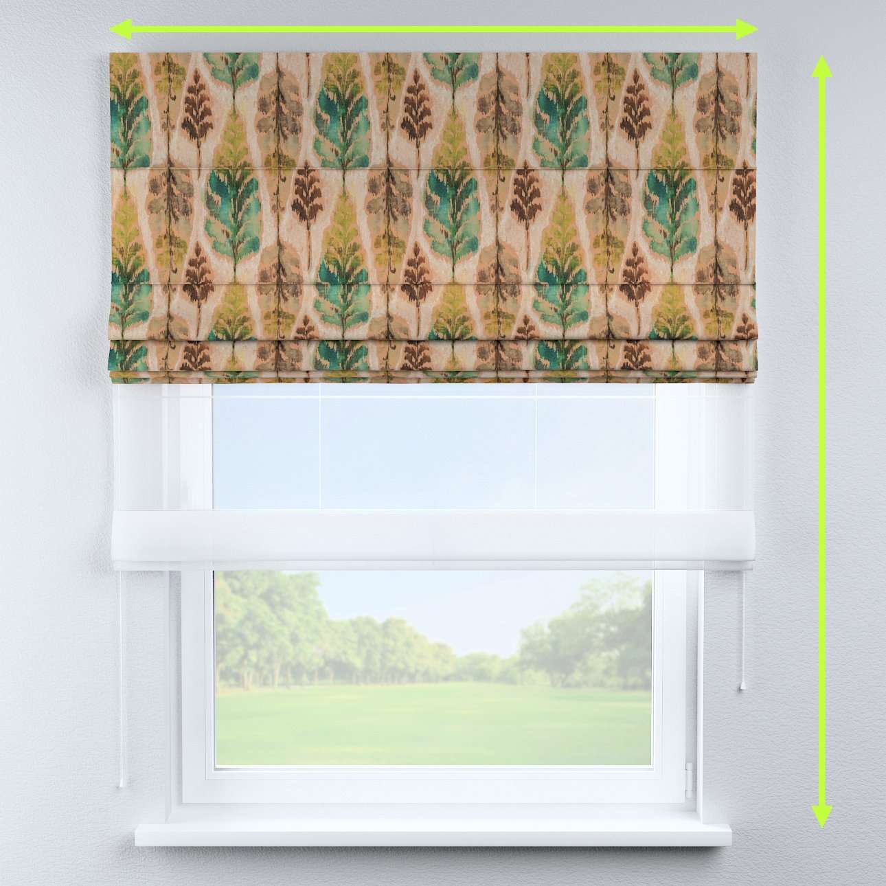 Voile and fabric roman blind (DUO II) in collection Urban Jungle, fabric: 141-60