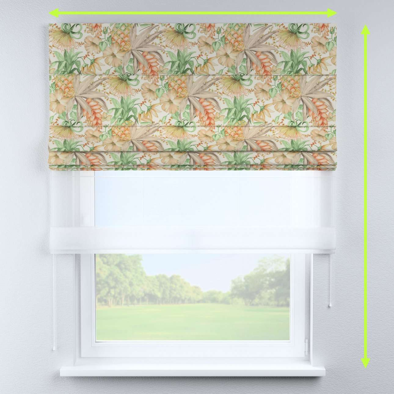Voile and fabric roman blind (DUO II) in collection Urban Jungle, fabric: 141-61