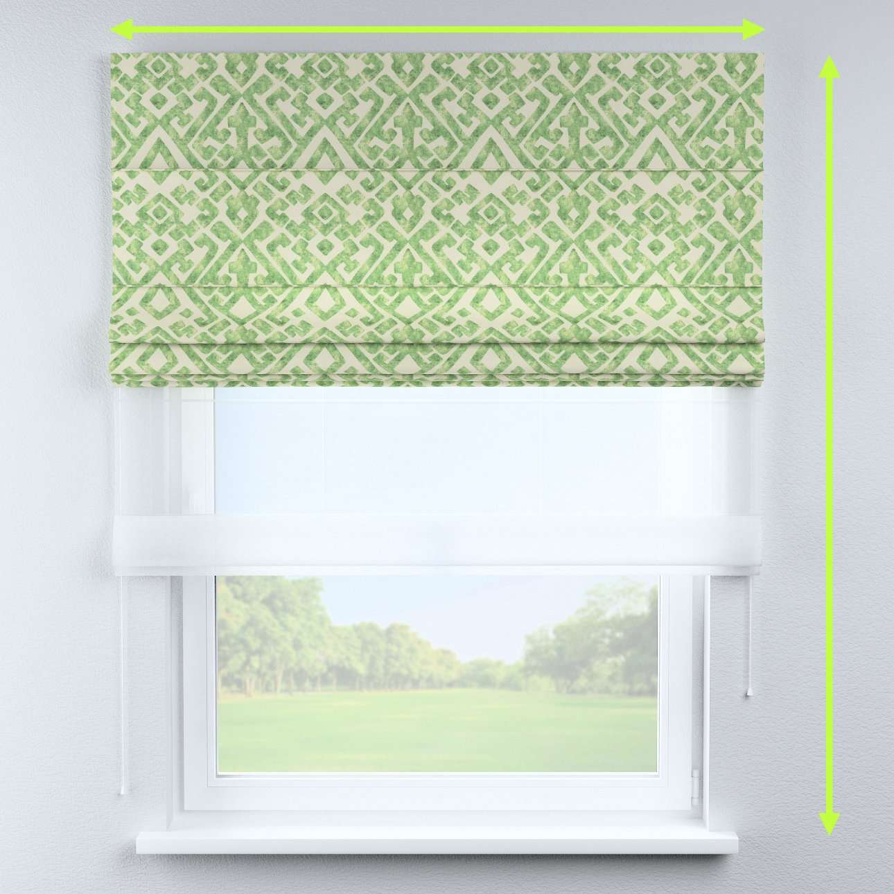 Voile and fabric roman blind (DUO II) in collection Urban Jungle, fabric: 141-62