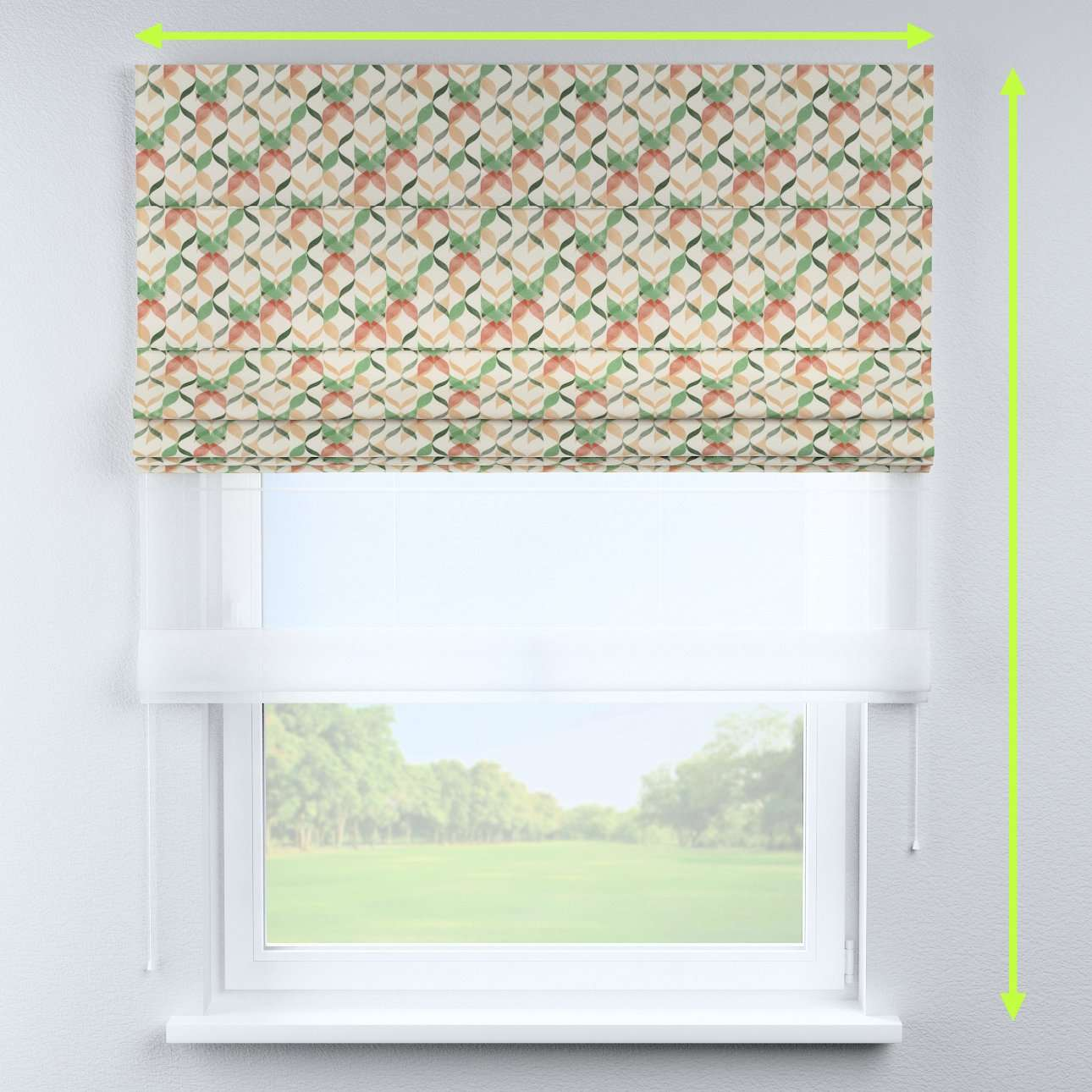 Voile and fabric roman blind (DUO II) in collection Urban Jungle, fabric: 141-64