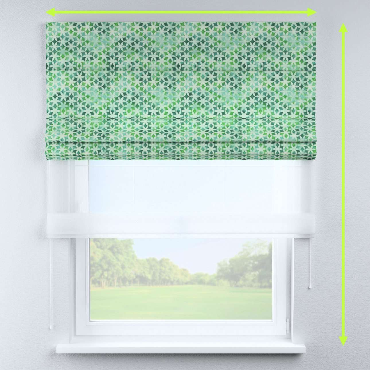 Voile and fabric roman blind (DUO II) in collection Urban Jungle, fabric: 141-65