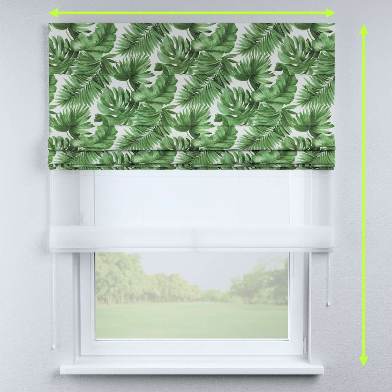 Voile and fabric roman blind (DUO II) in collection Urban Jungle, fabric: 141-71