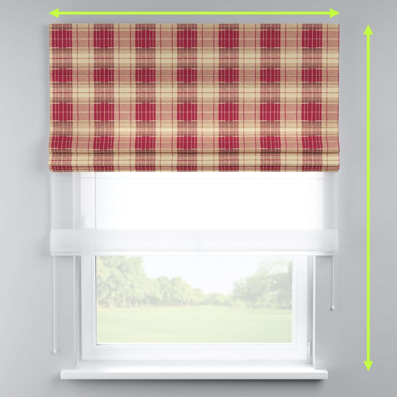 Voile and fabric roman blind (DUO II) in collection Mirella, fabric: 142-06