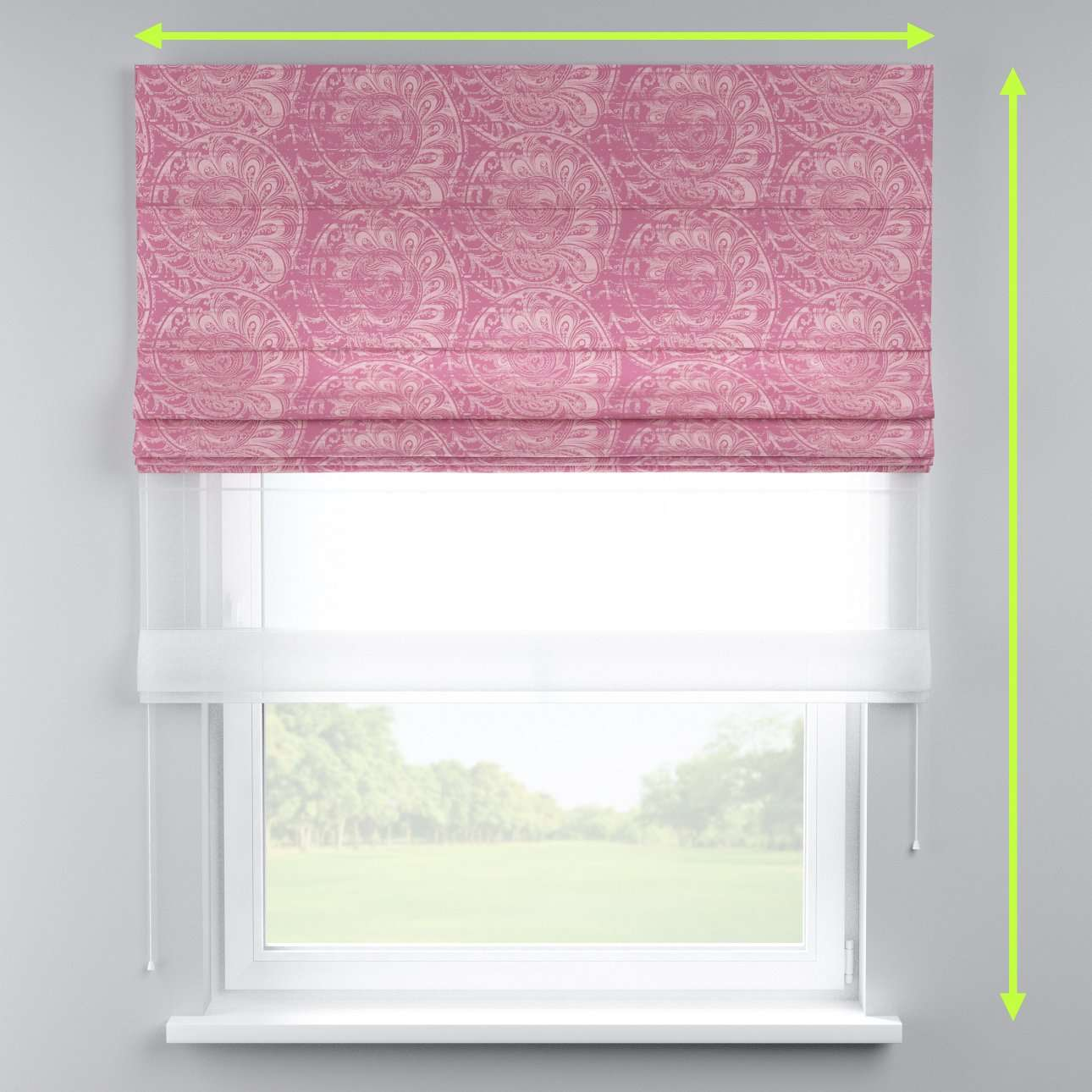 Voile and fabric roman blind (DUO II) in collection Mirella, fabric: 143-07