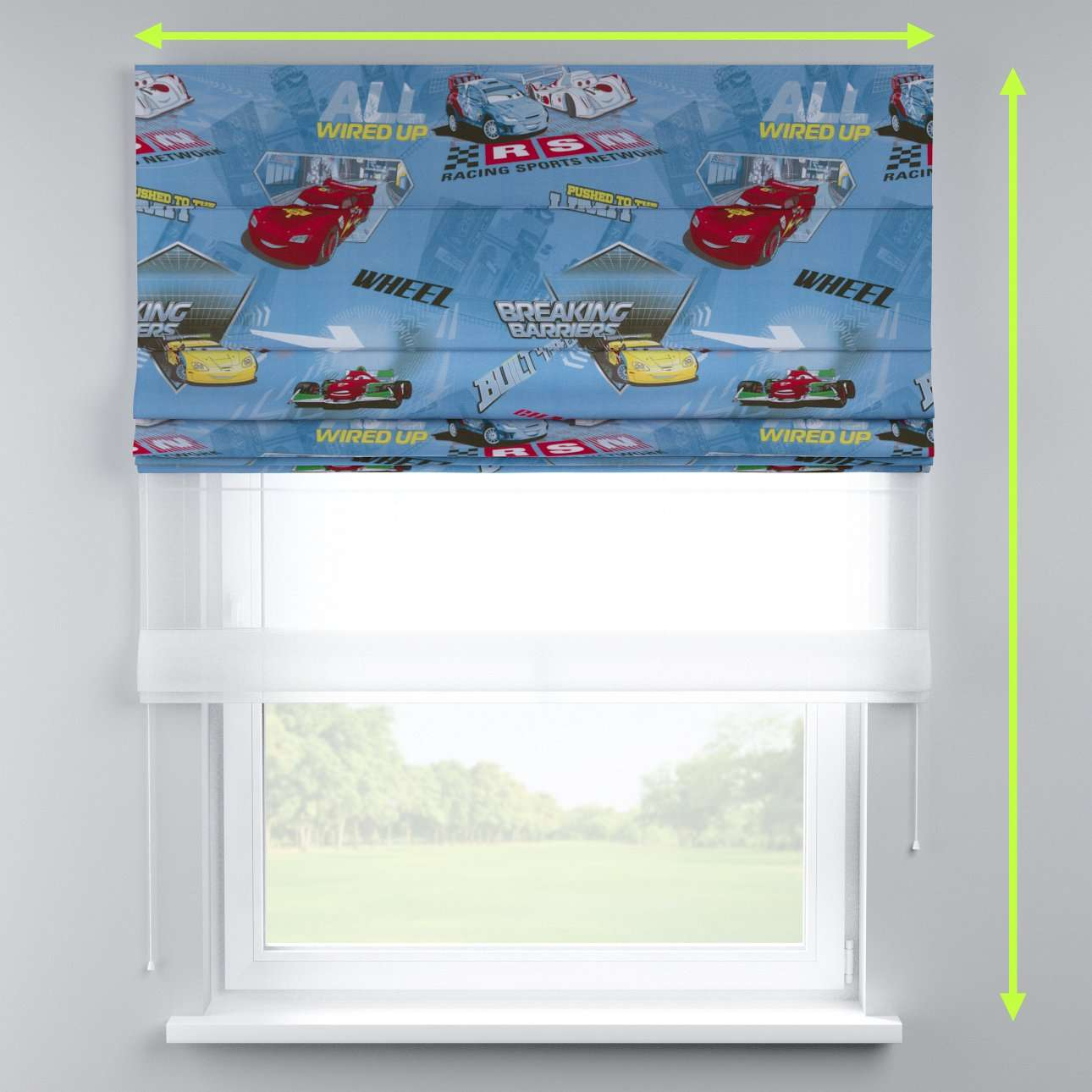 Voile and fabric roman blind (DUO II) in collection Freestyle, fabric: 150-20