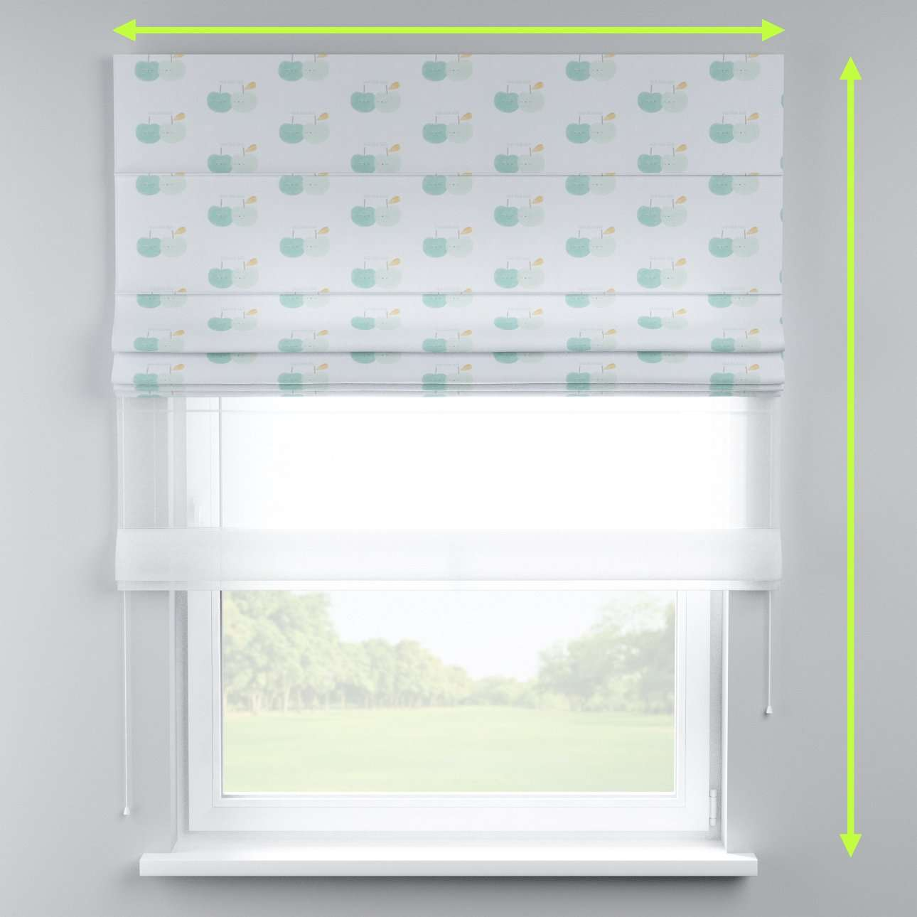 Voile and fabric roman blind (DUO II) in collection Apanona, fabric: 151-02