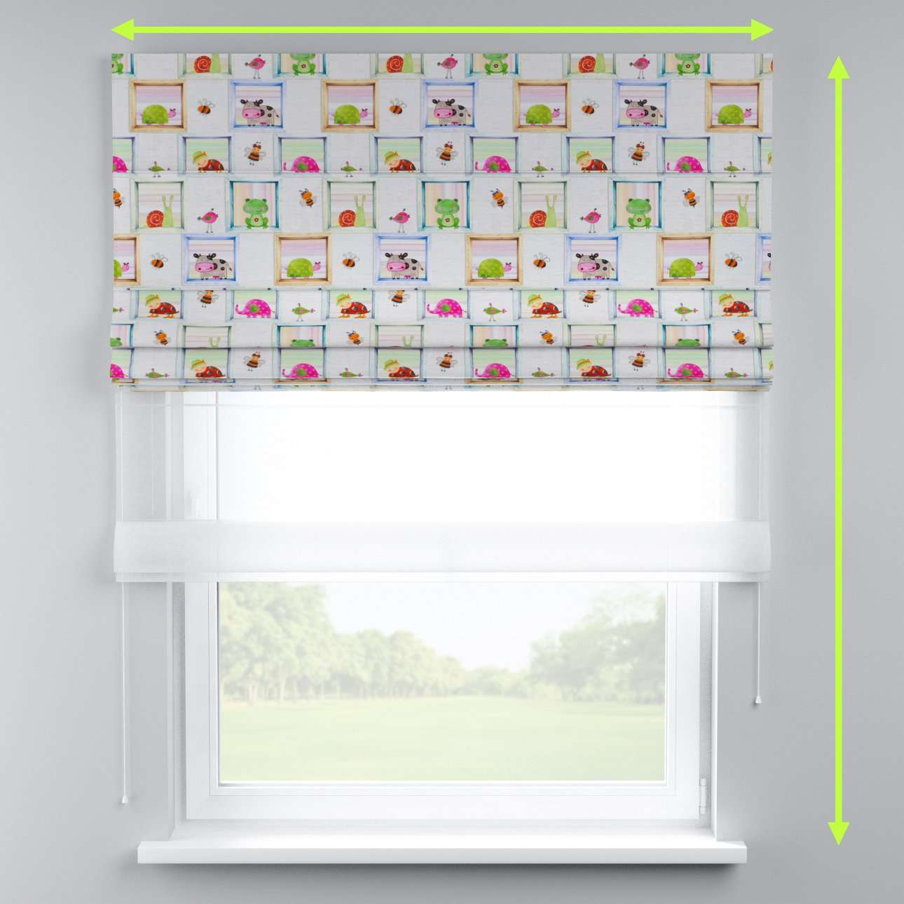 Voile and fabric roman blind (DUO II) in collection Apanona, fabric: 151-04