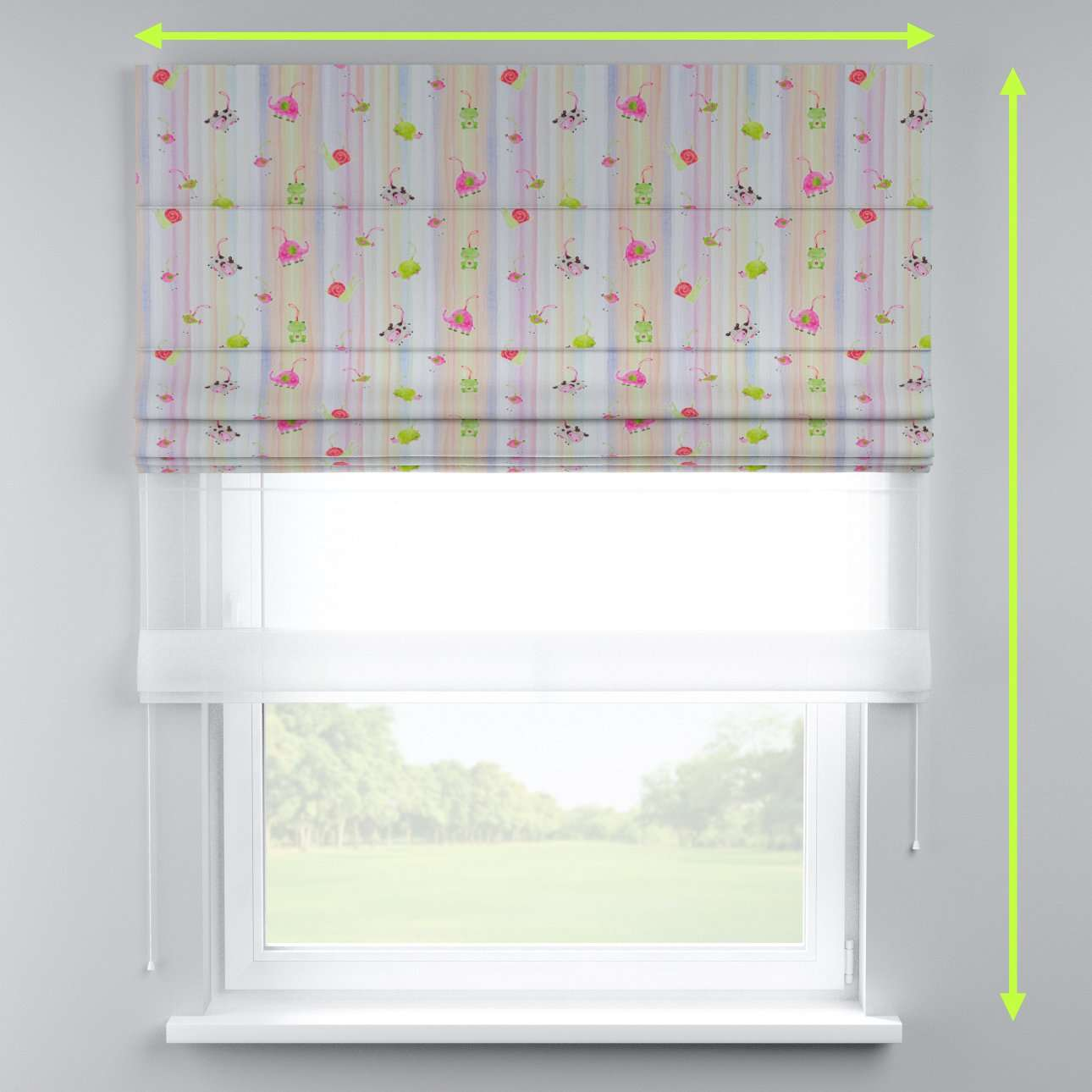 Voile and fabric roman blind (DUO II) in collection Apanona, fabric: 151-05