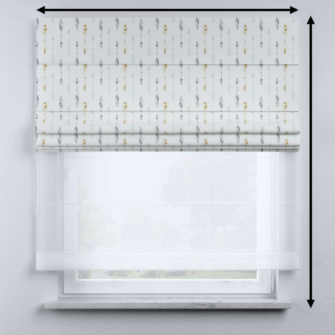 Voile and fabric roman blind (DUO II) in collection Magic Collection, fabric: 500-07