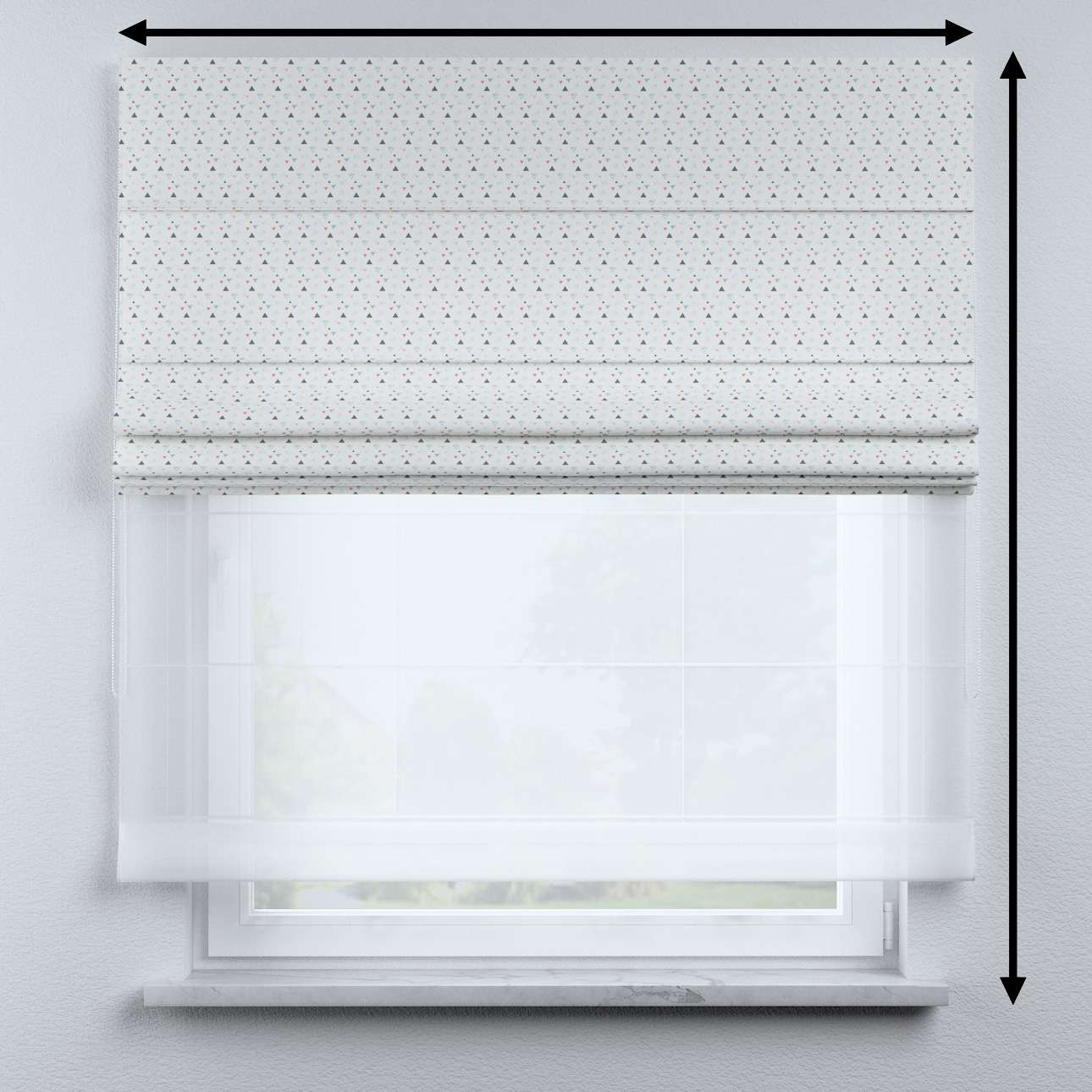 Voile and fabric roman blind (DUO II) in collection Magic Collection, fabric: 500-22