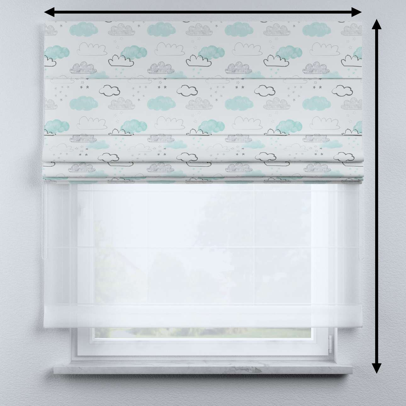 Voile and fabric roman blind (DUO II) in collection Magic Collection, fabric: 500-14