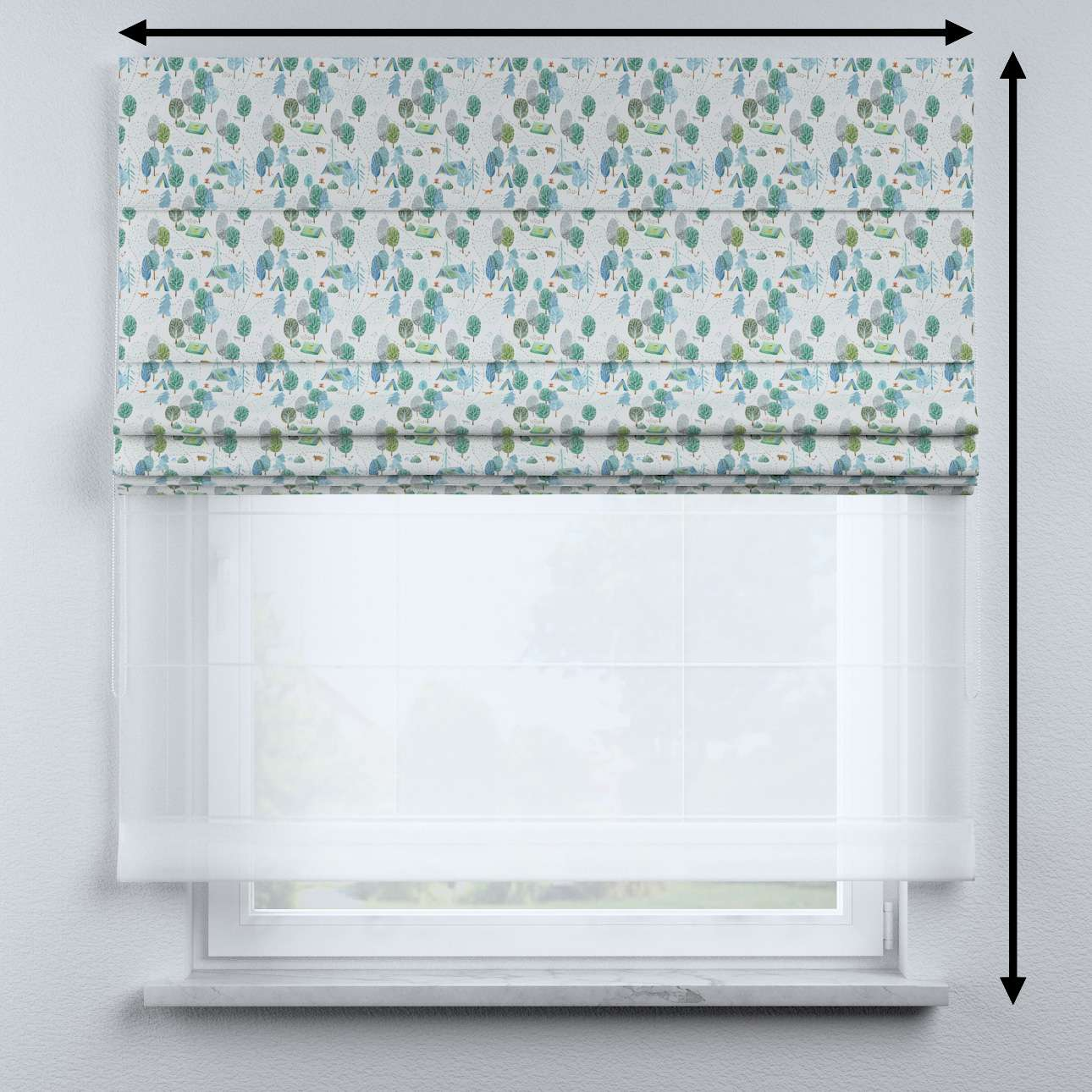 Voile and fabric roman blind (DUO II) in collection Magic Collection, fabric: 500-21