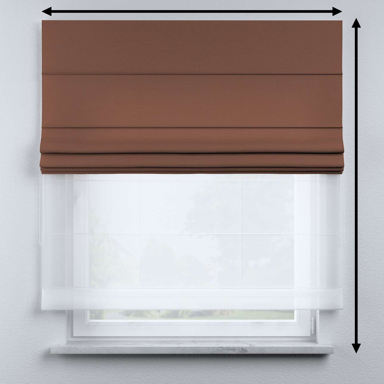 Voile and fabric roman blind (DUO II) in collection Happiness, fabric: 133-09