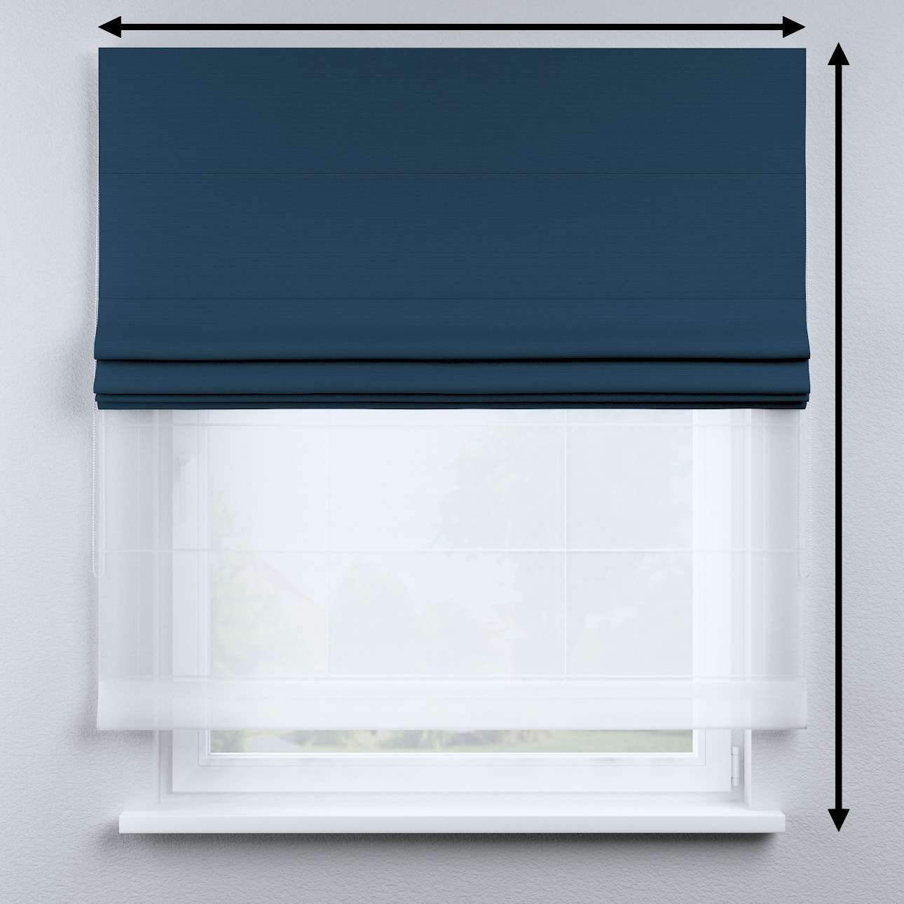Voile and fabric roman blind (DUO II) in collection Cotton Story, fabric: 702-30