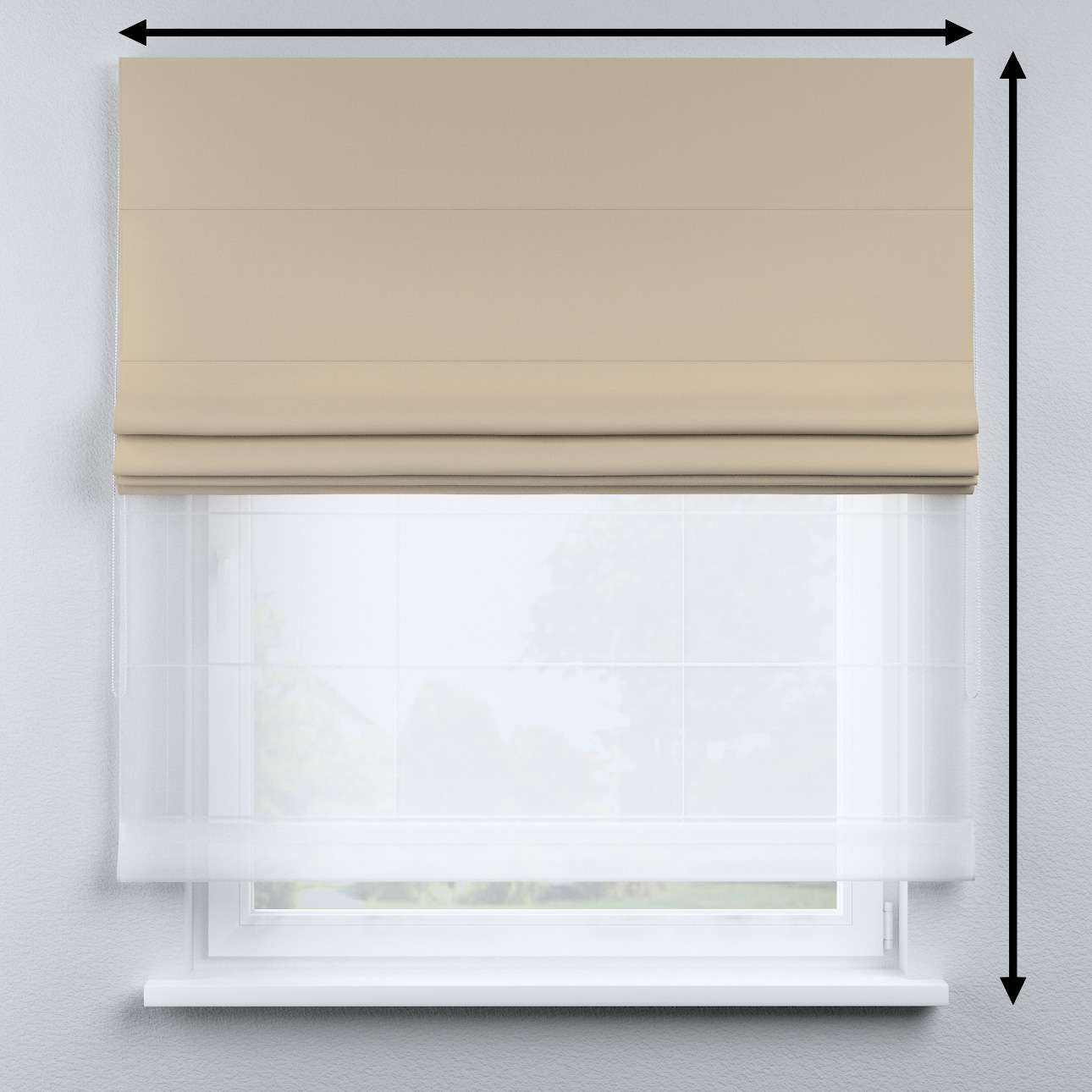 Voile and fabric roman blind (DUO II) in collection Cotton Story, fabric: 702-01
