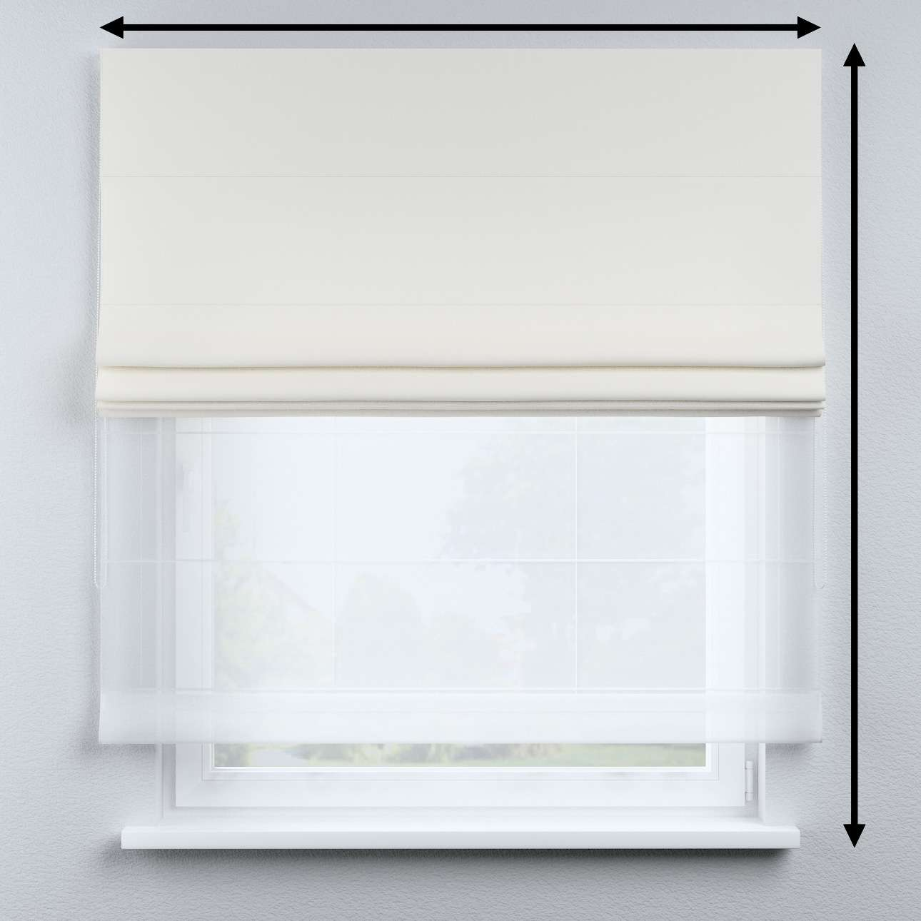 Voile and fabric roman blind (DUO II) in collection Cotton Story, fabric: 702-34