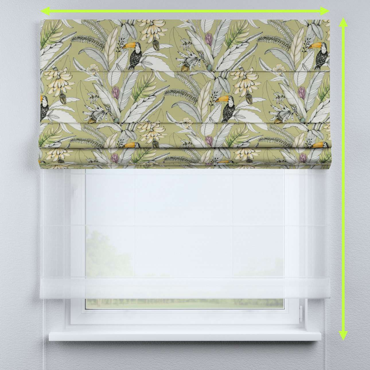 Voile and fabric roman blind (DUO II)  in collection Tropical Island, fabric: 142-65