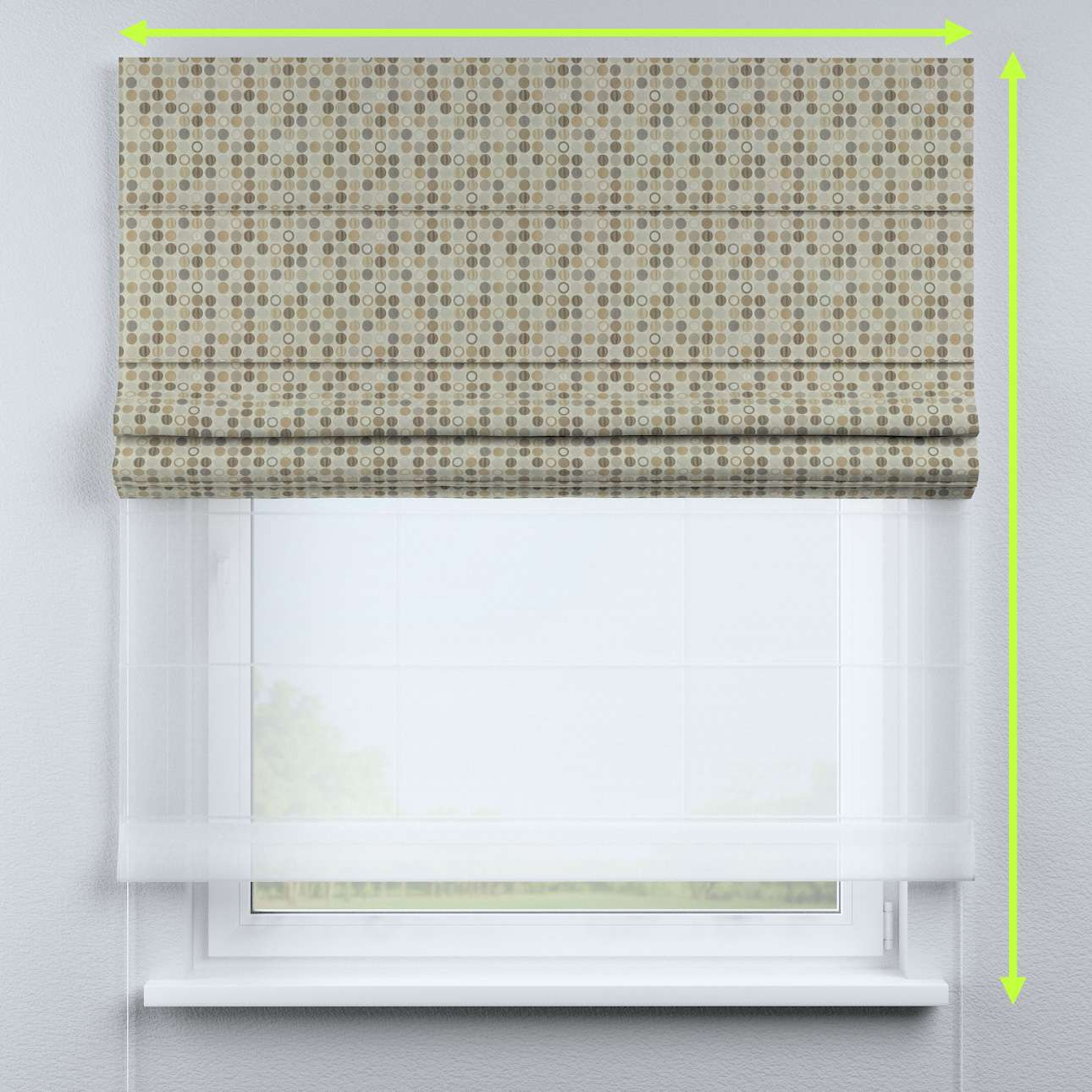 Voile and fabric roman blind (DUO II) in collection Retro Glam, fabric: 142-81