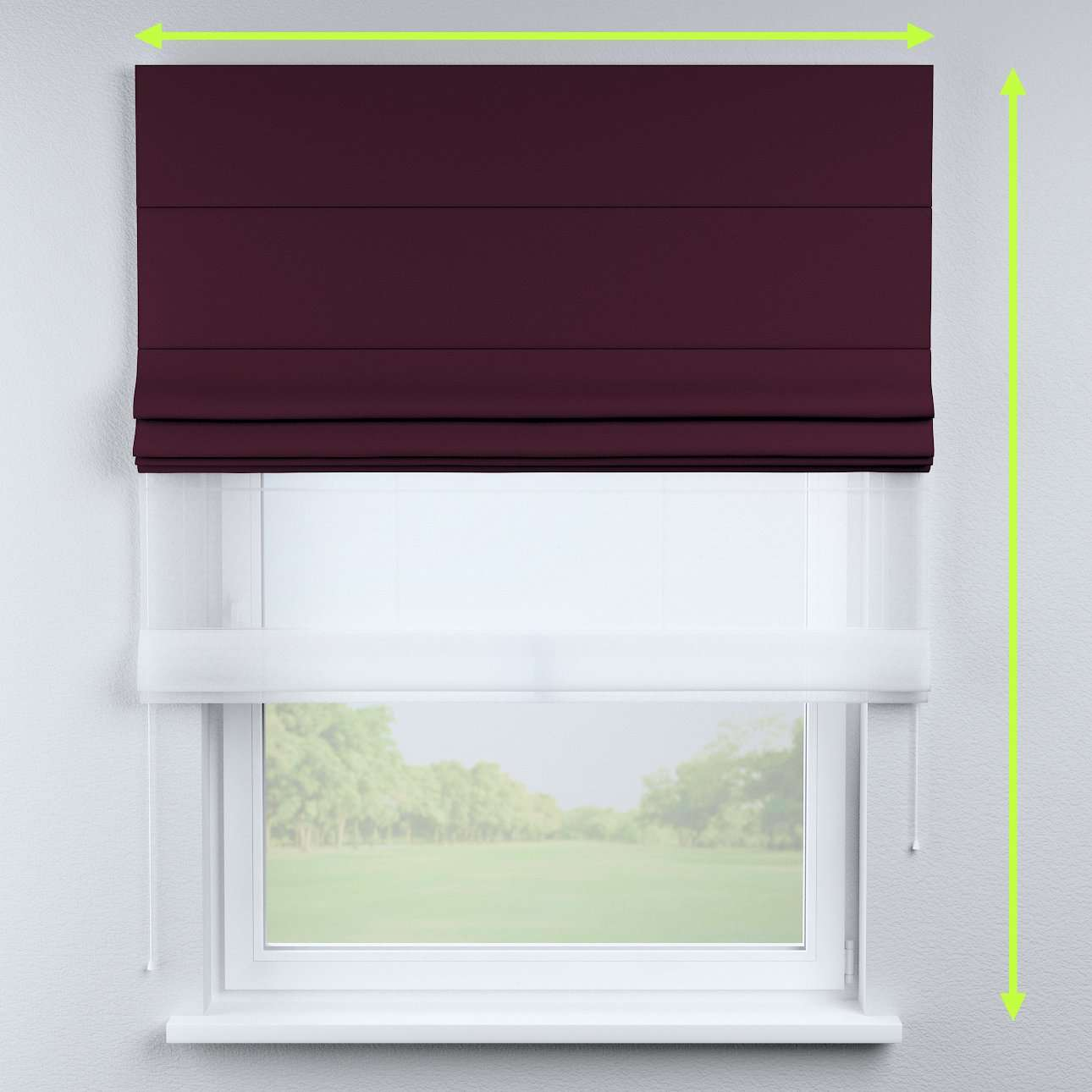 Voile and fabric roman blind (DUO II) in collection Blackout, fabric: 269-53