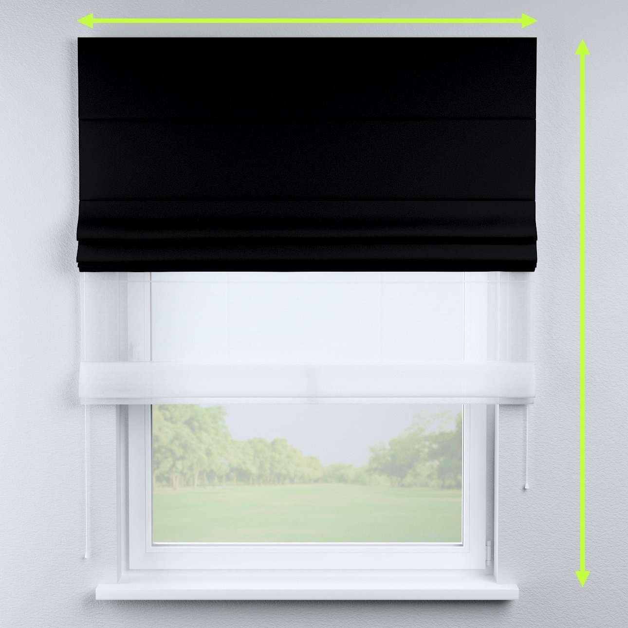 Voile and fabric roman blind (DUO II) in collection Blackout, fabric: 269-99