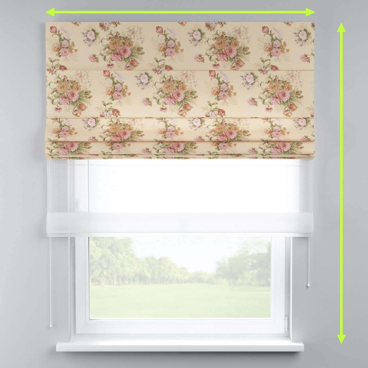 Voile and fabric roman blind (DUO II) in collection Flowers, fabric: 302-01