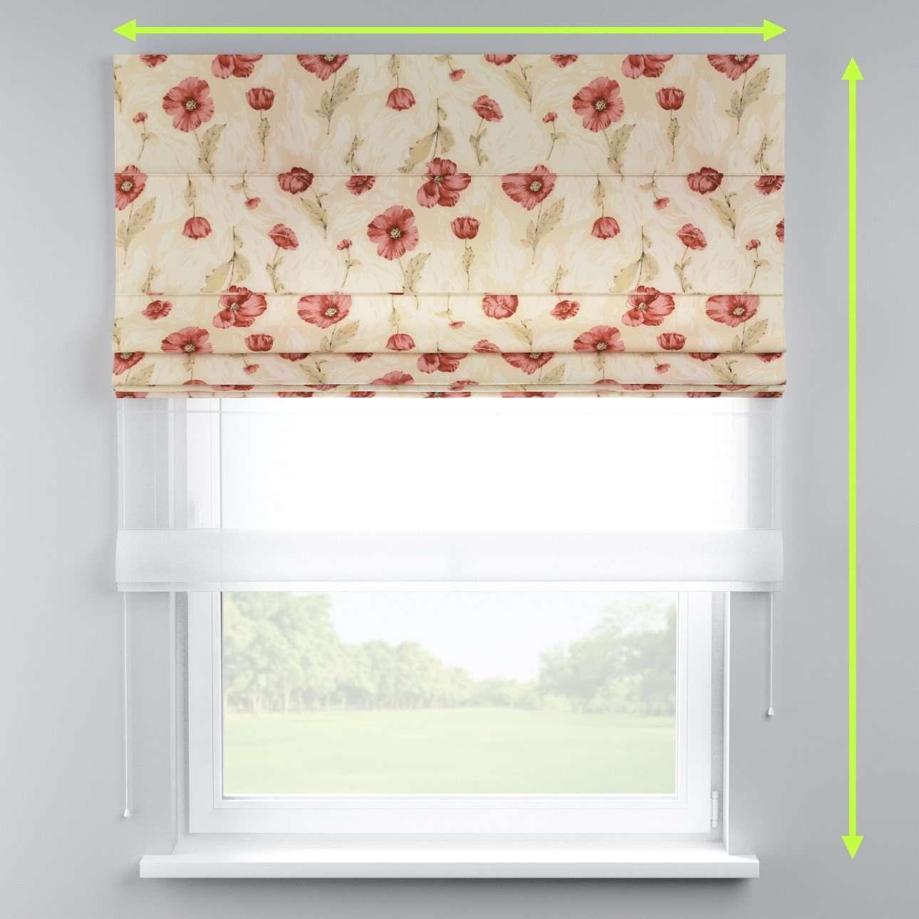 Voile and fabric roman blind (DUO II) in collection Flowers, fabric: 303-01