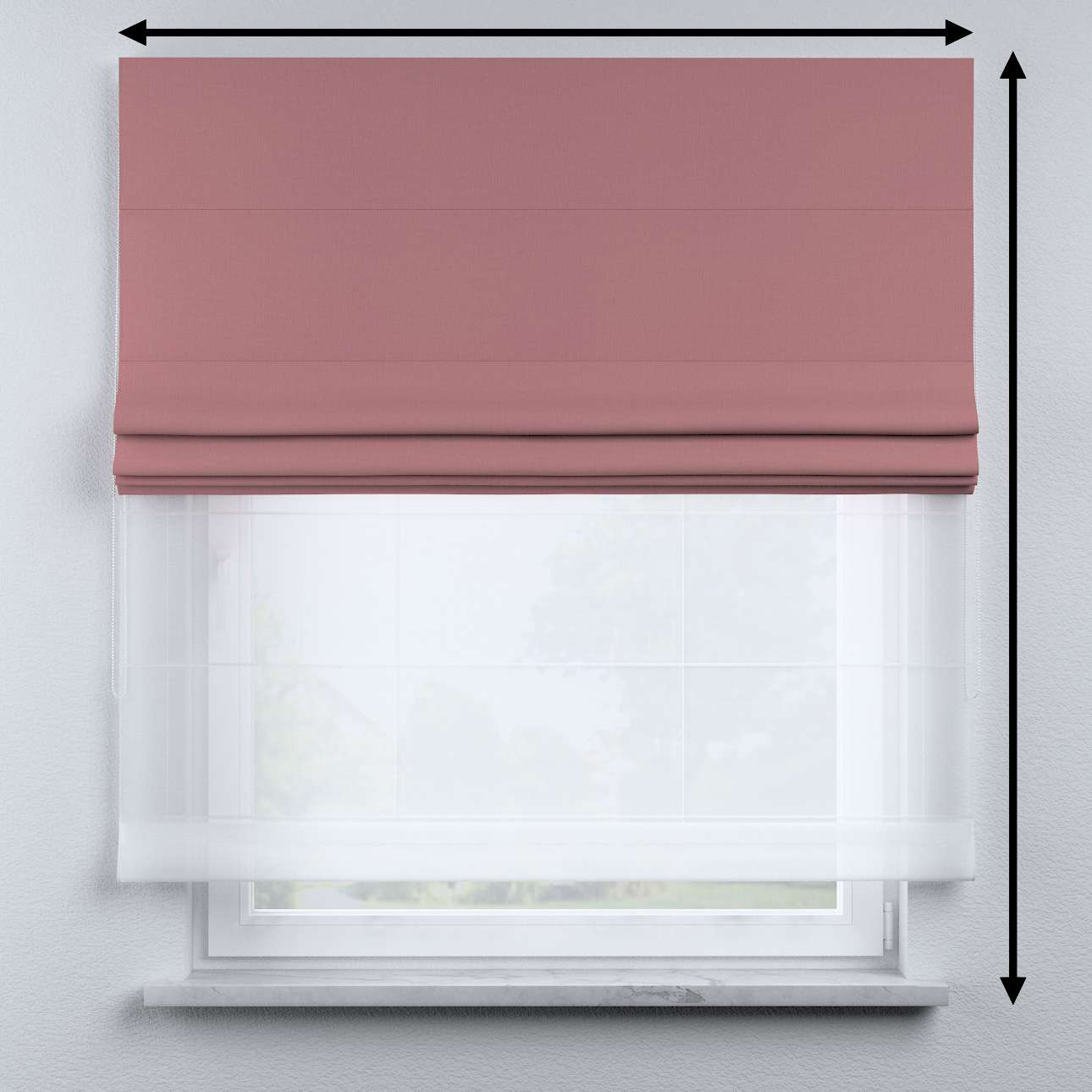Voile and fabric roman blind (DUO II) in collection Cotton Story, fabric: 702-43