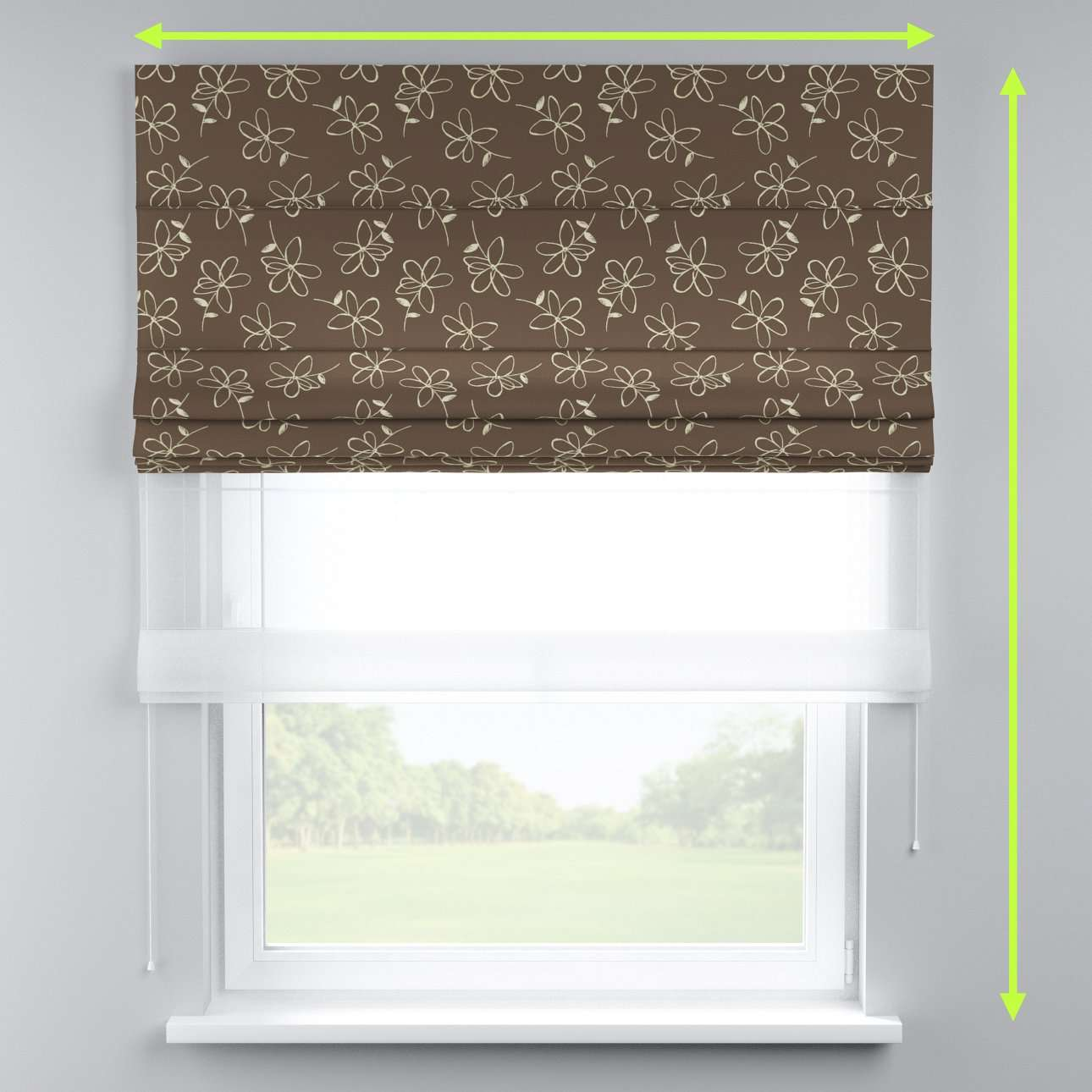 Voile and fabric roman blind (DUO II) in collection Flowers, fabric: 311-03