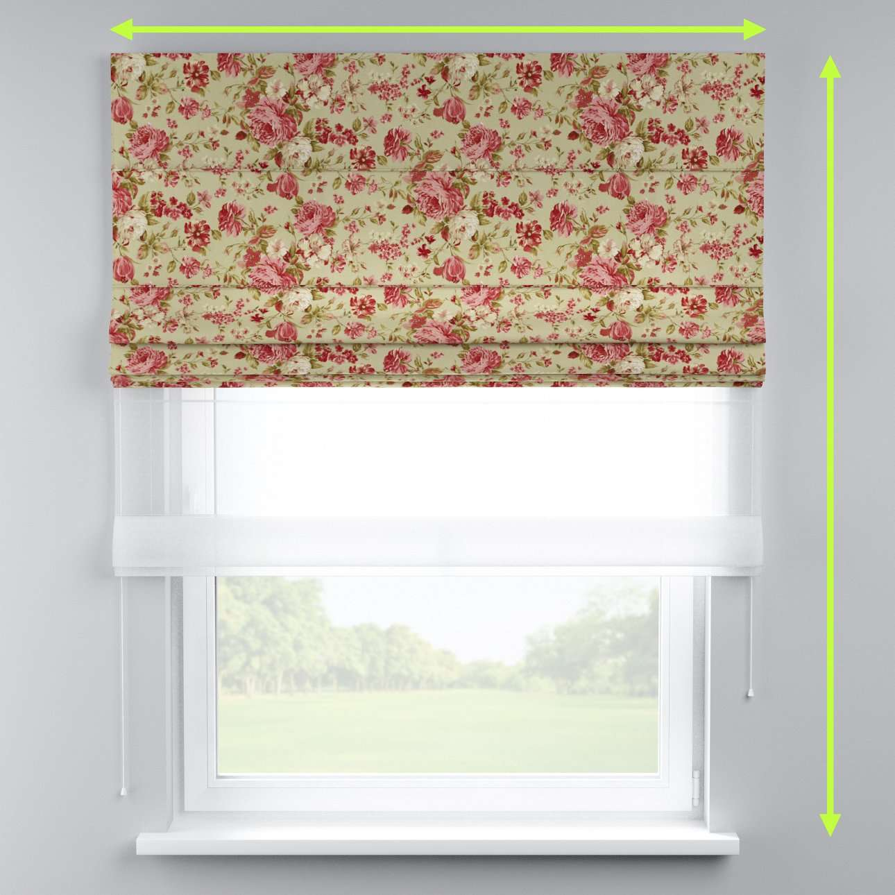Voile and fabric roman blind (DUO II) in collection Flowers, fabric: 311-06