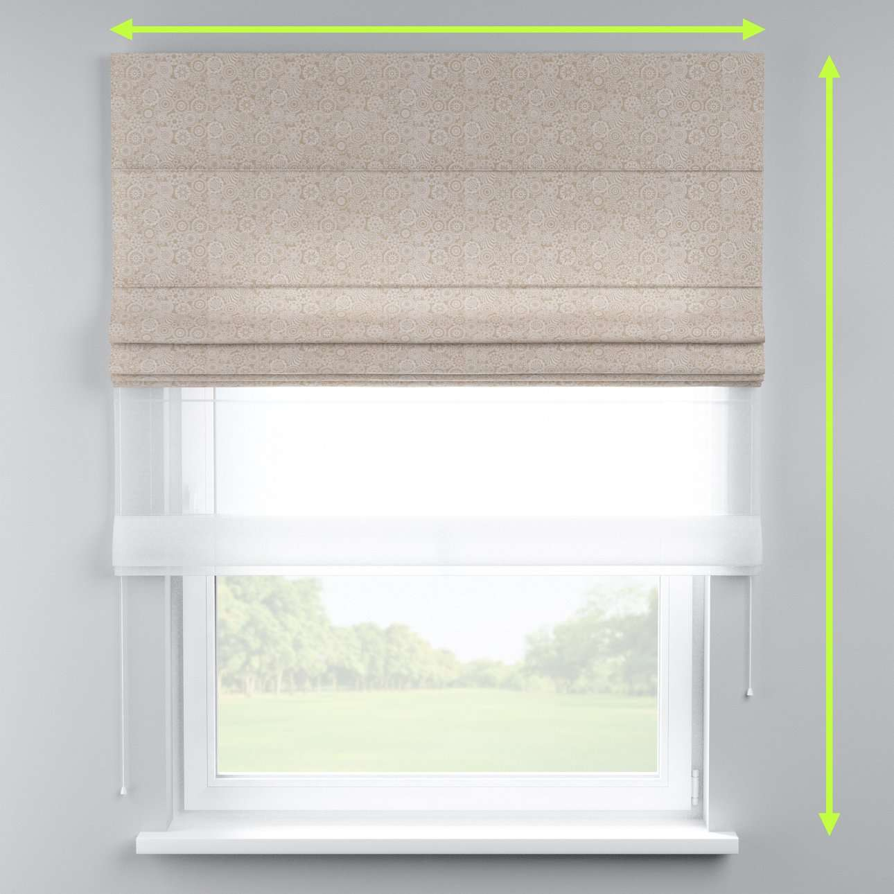 Voile and fabric roman blind (DUO II) in collection Flowers, fabric: 311-09