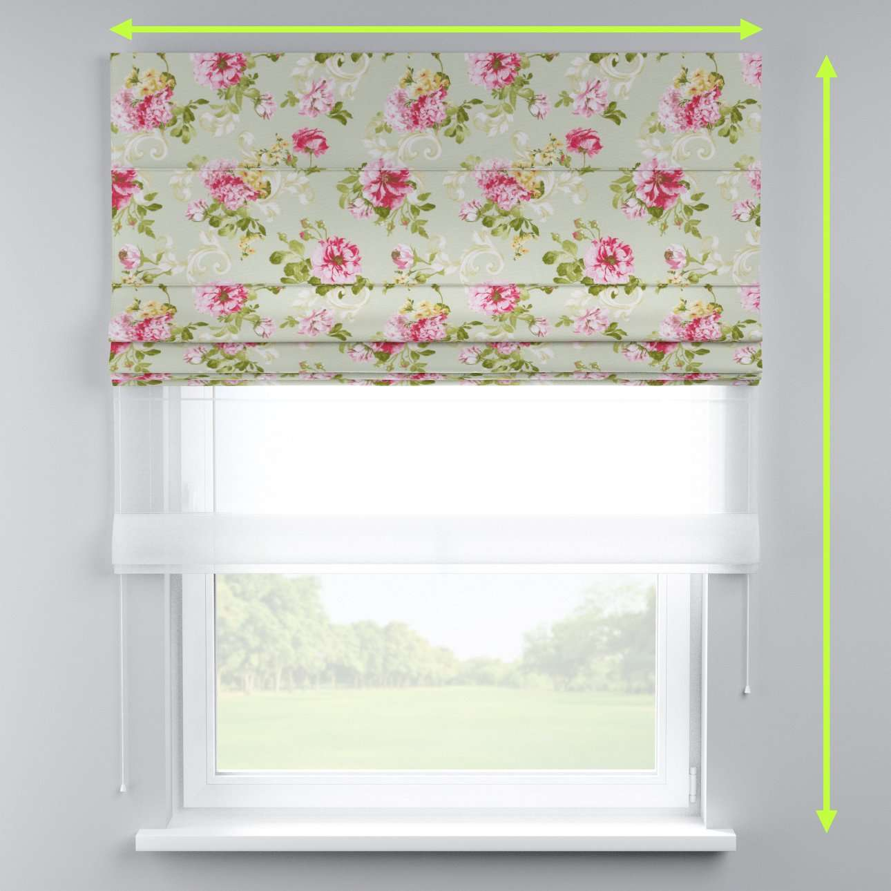 Voile and fabric roman blind (DUO II) in collection Flowers, fabric: 311-10
