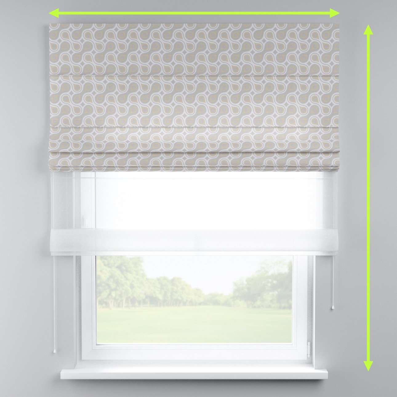 Voile and fabric roman blind (DUO II) in collection Flowers, fabric: 311-11