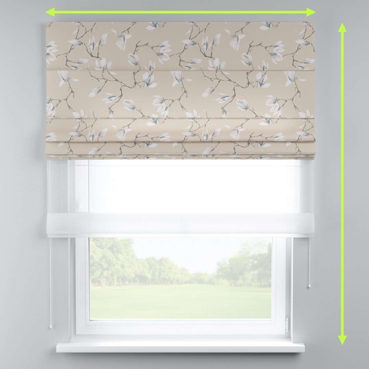 Voile and fabric roman blind (DUO II) in collection Flowers, fabric: 311-12