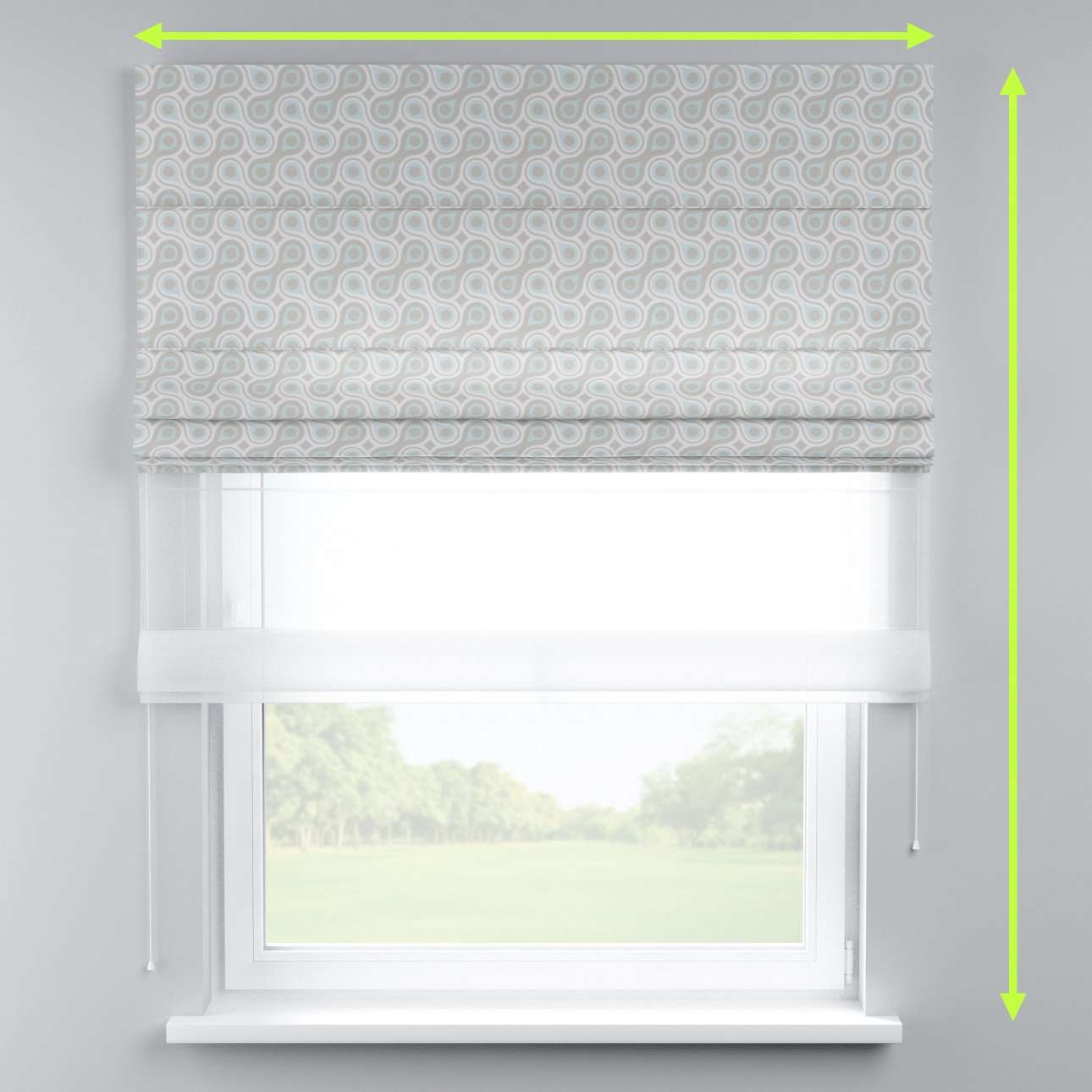 Voile and fabric roman blind (DUO II) in collection Flowers, fabric: 311-13
