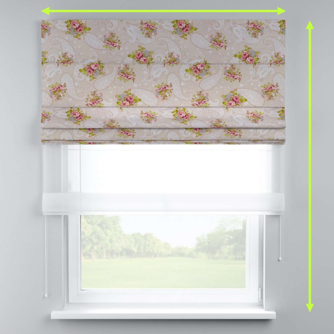Voile and fabric roman blind (DUO II) in collection Flowers, fabric: 311-15