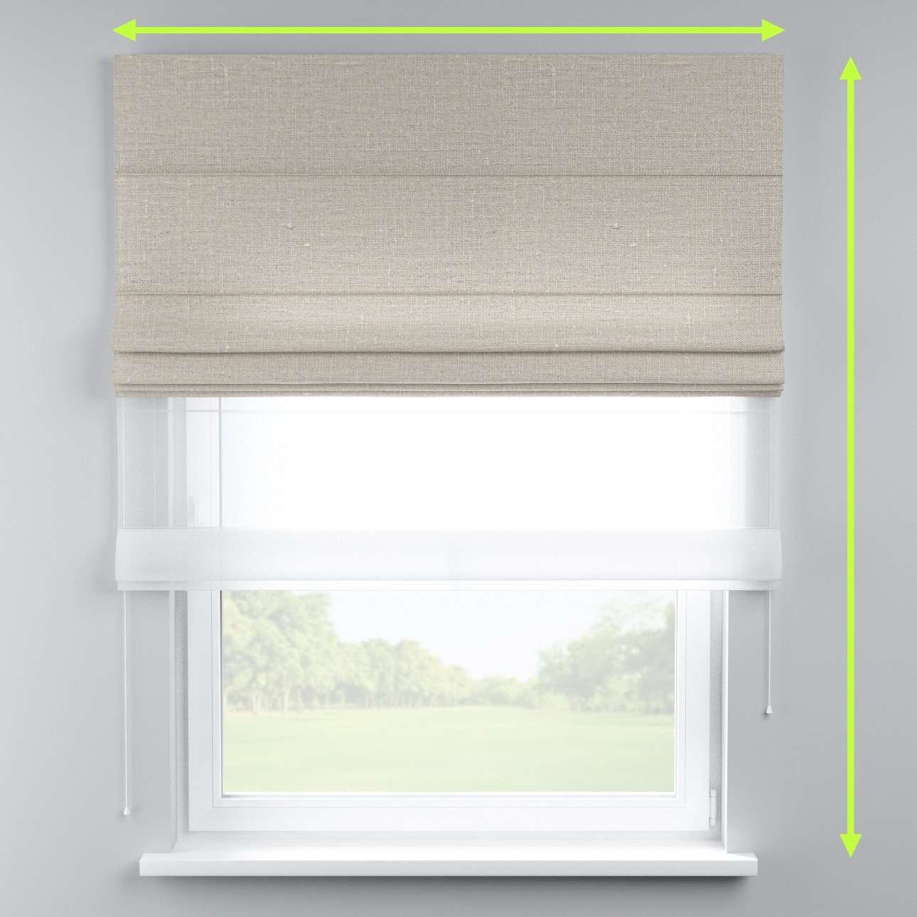 Voile and fabric roman blind (DUO II) in collection Linen, fabric: 392-05