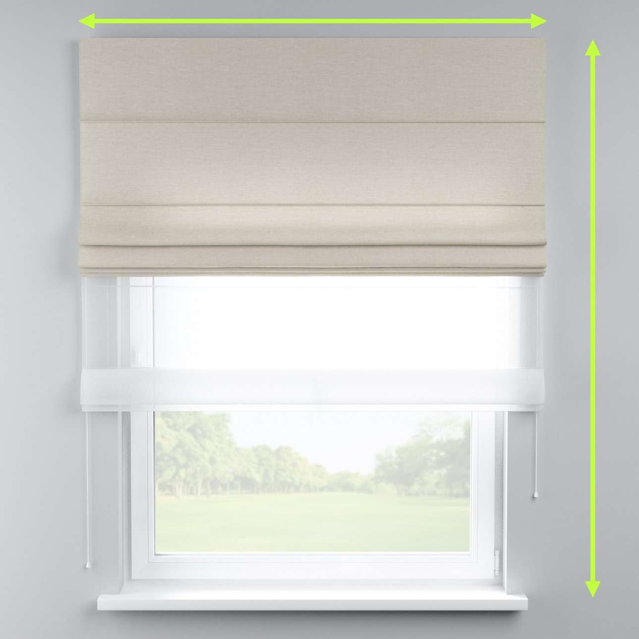 Voile and fabric roman blind (DUO II) in collection Linen , fabric: 392-09