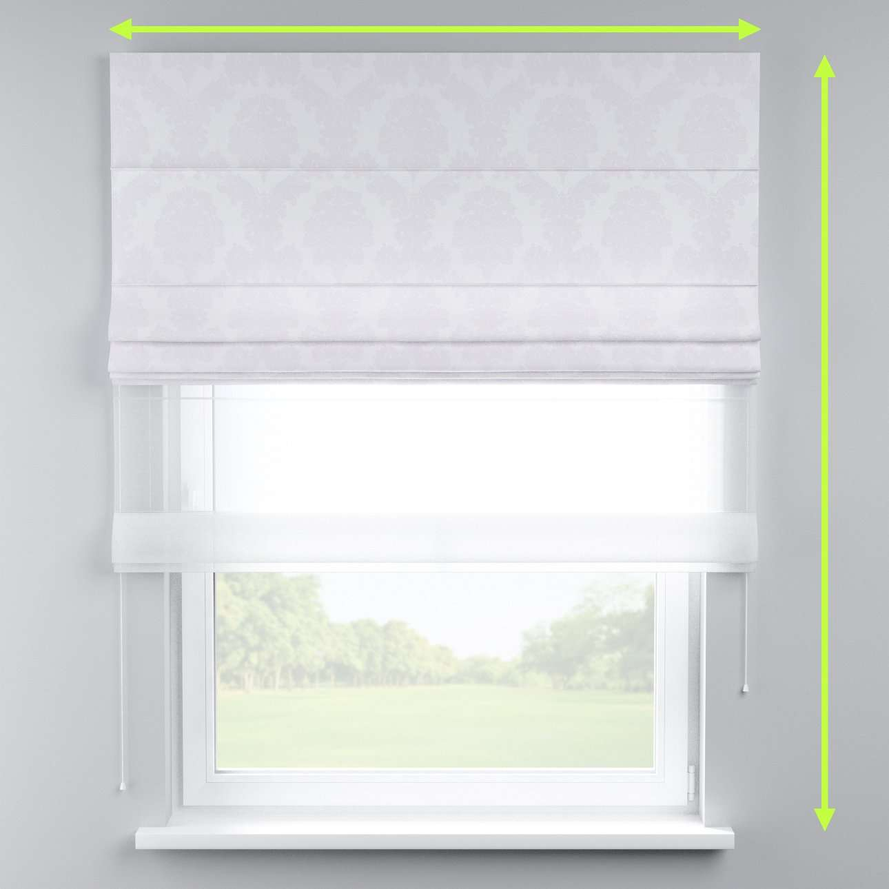 Voile and fabric roman blind (DUO II) in collection Damasco, fabric: 613-00