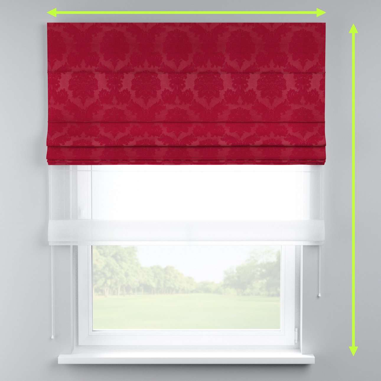 Voile and fabric roman blind (DUO II) in collection Damasco, fabric: 613-13