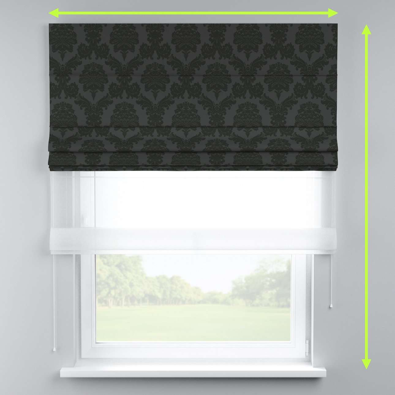 Voile and fabric roman blind (DUO II) in collection Damasco, fabric: 613-32