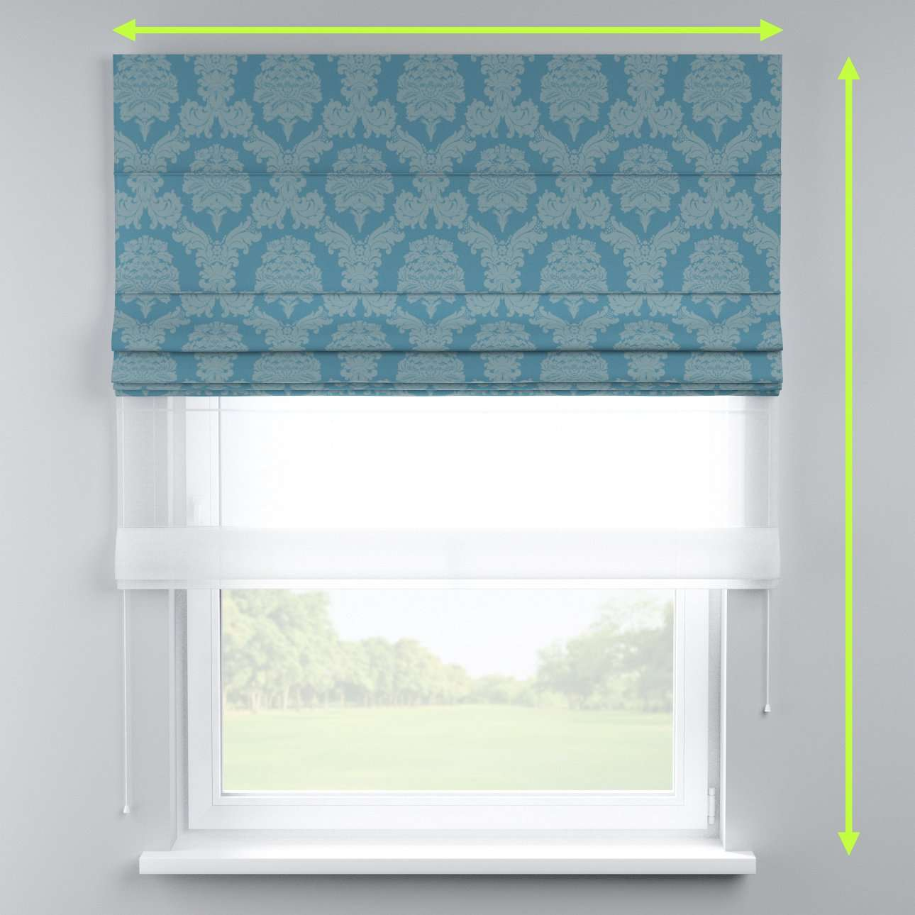 Voile and fabric roman blind (DUO II) in collection Damasco, fabric: 613-67