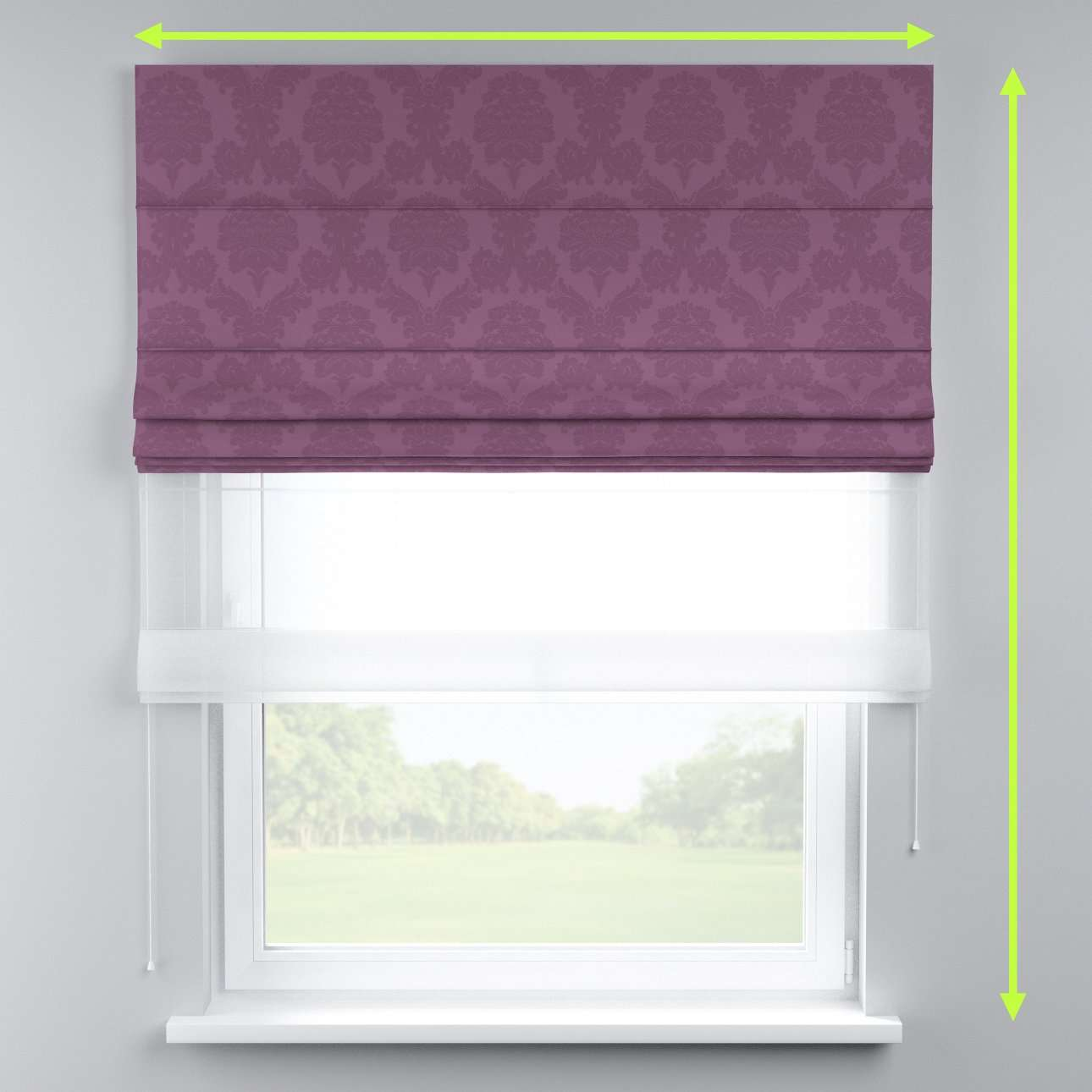 Voile and fabric roman blind (DUO II) in collection Damasco, fabric: 613-75