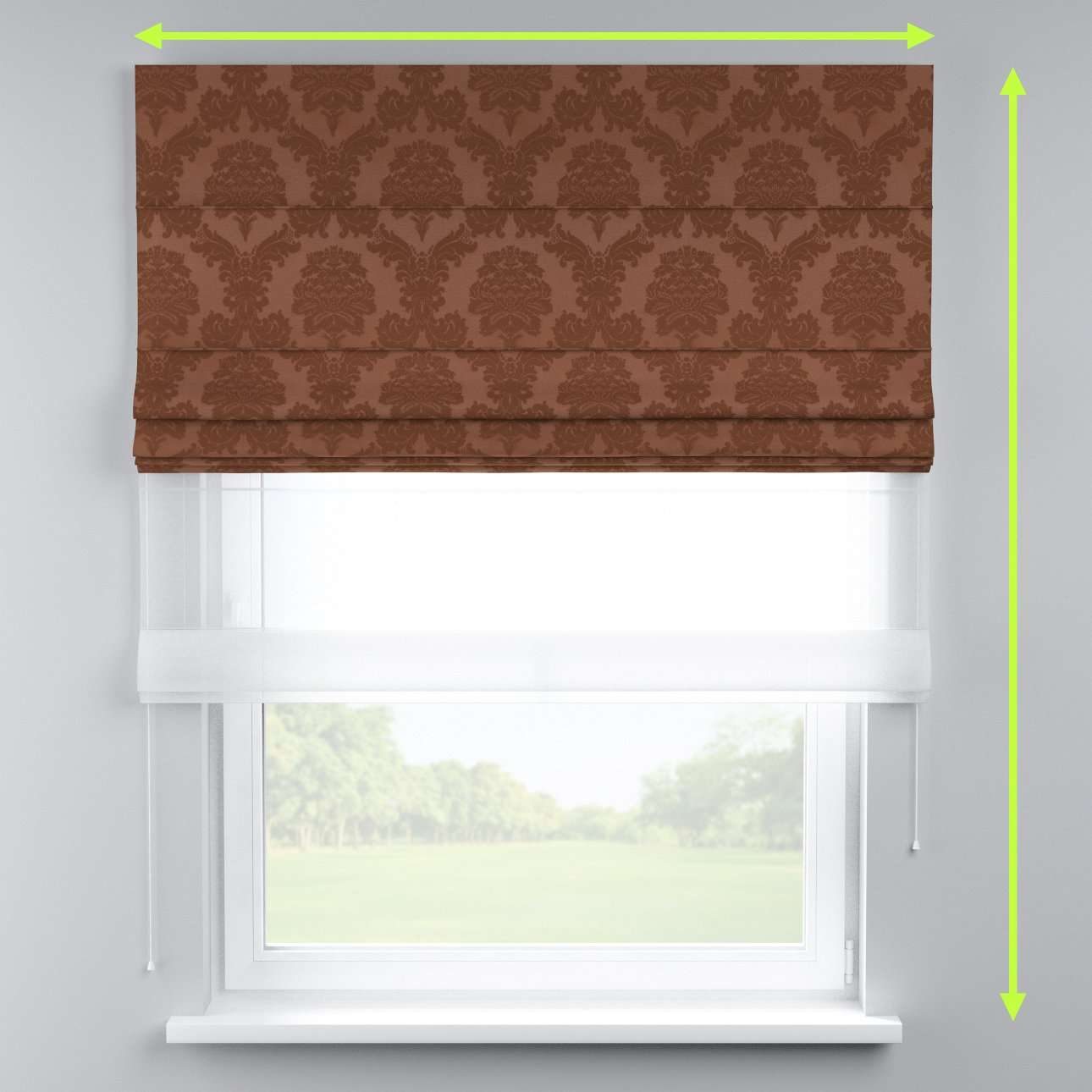 Voile and fabric roman blind (DUO II) in collection Damasco, fabric: 613-88
