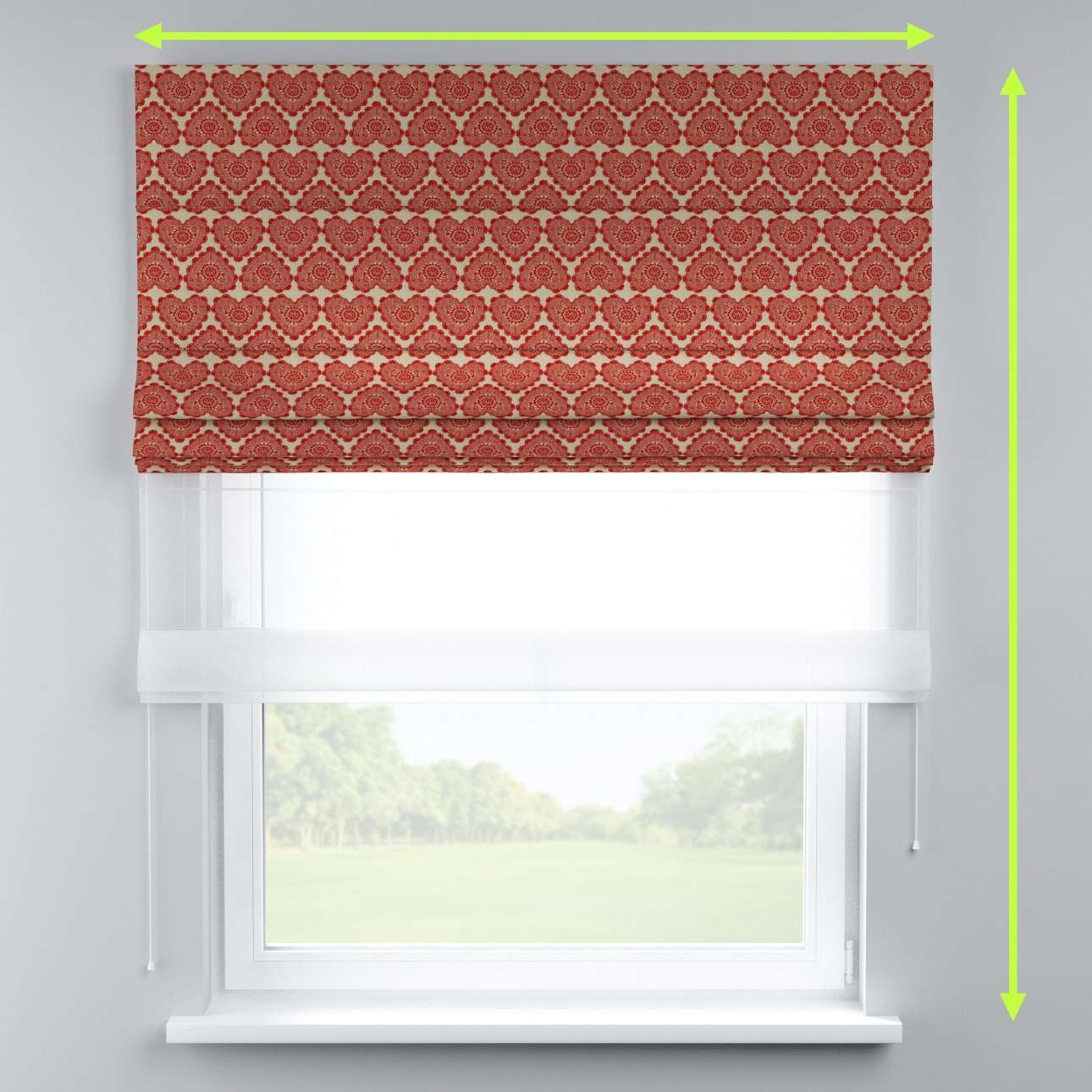 Voile and fabric roman blind (DUO II) in collection Freestyle, fabric: 629-17