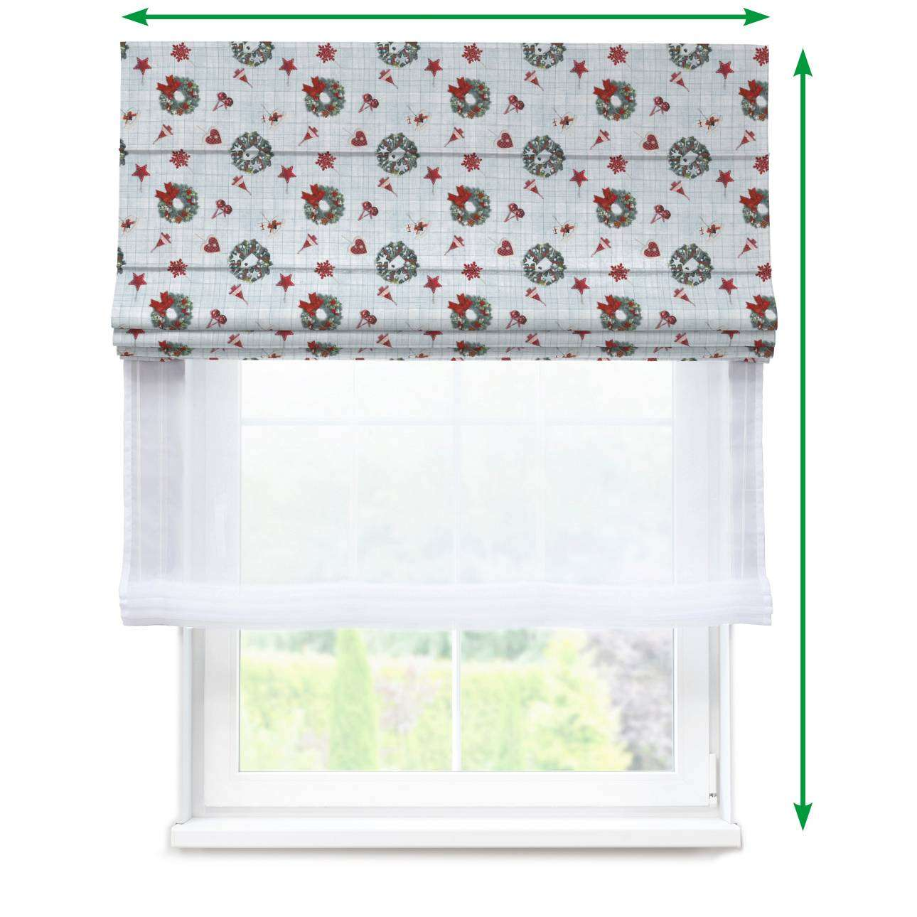 Voile and fabric roman blind (DUO II) in collection Christmas, fabric: 629-26